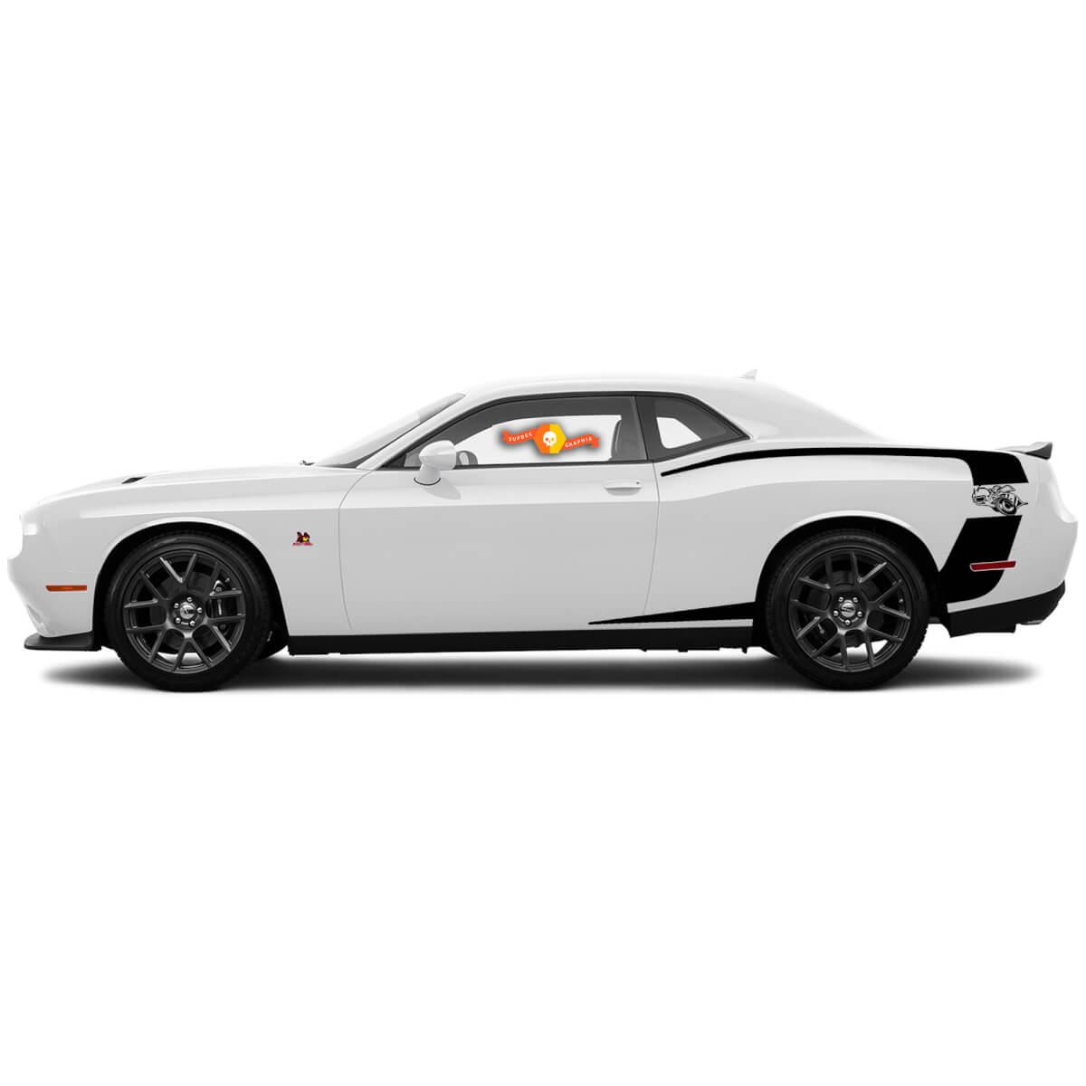 Für 2015-2018 Dodge Challenger Reverse C Streifen hinten Super Bee Side Stripes Aufkleber