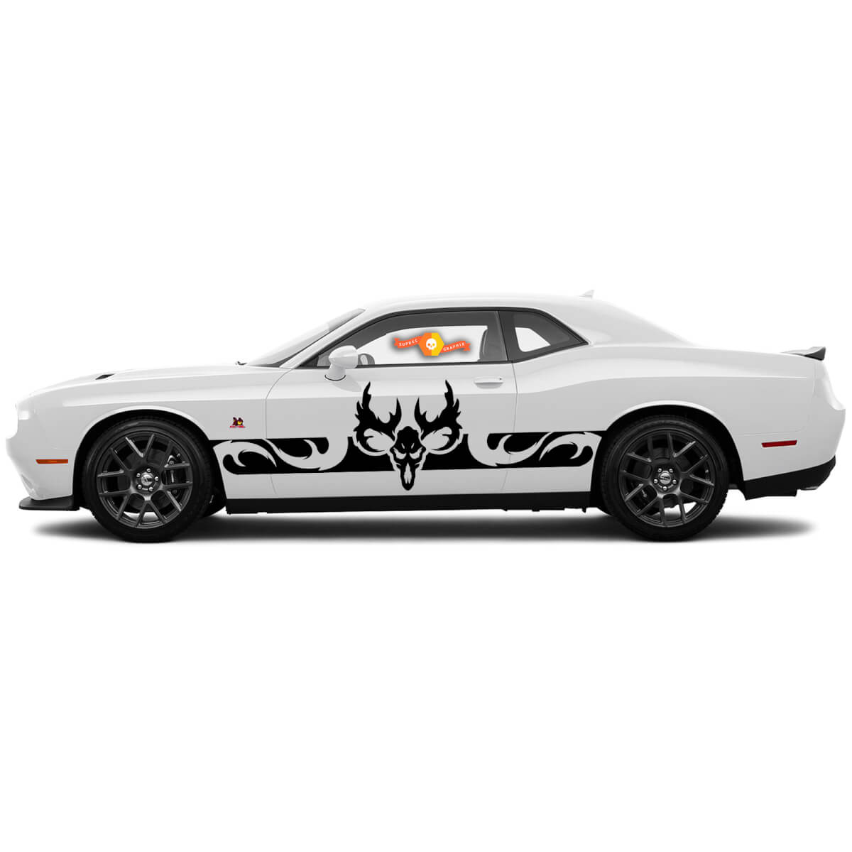 2 Side Dodge Challenger Ram Skull Side Vinyl Decals Graphics Sticker
