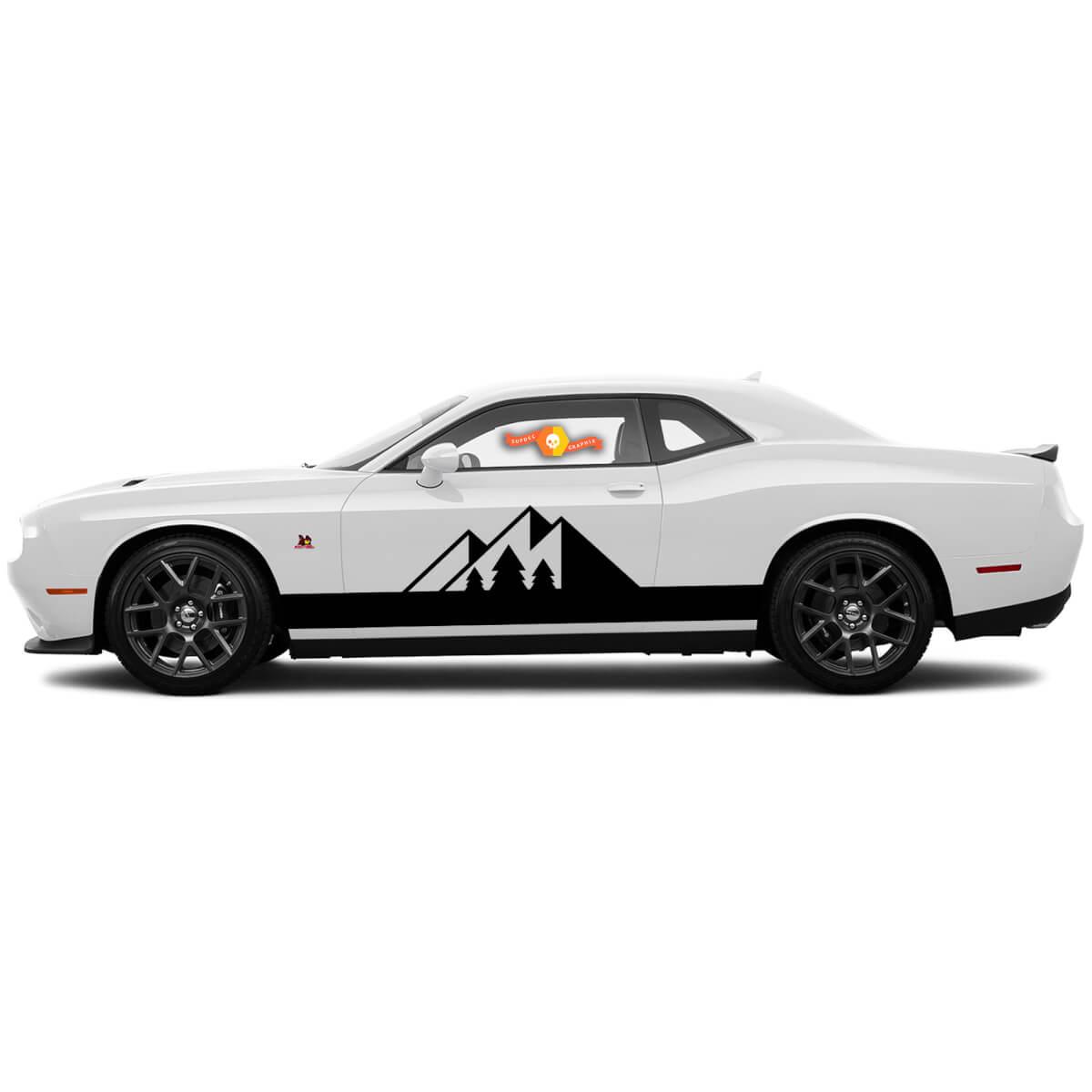 2 Seite Dodge Challenger Mountain Forest Rocker Panel Seite Vinyl Aufkleber Grafik Aufkleber
