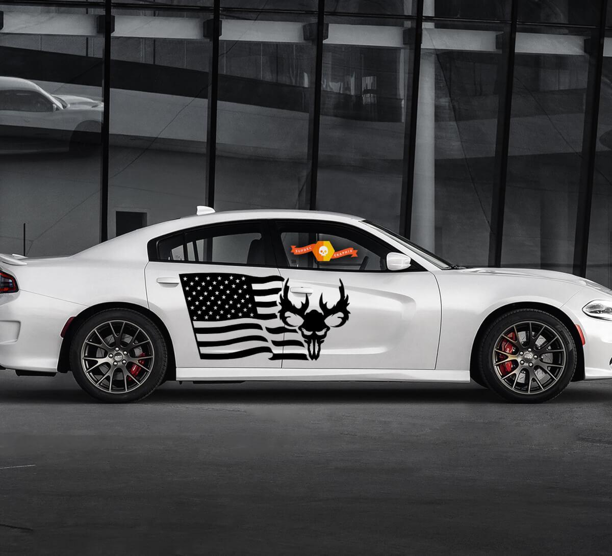 2 Seite Dodge Charger USA Flagge Schädel Tür Seite Vinyl Aufkleber Grafik Aufkleber