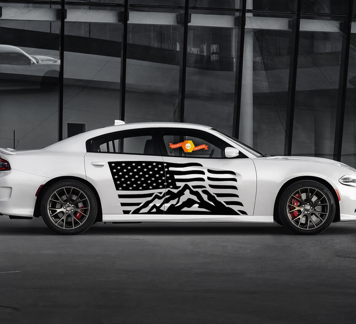 2 Seite Dodge Charger USA Flagge Berge Tür Seite Vinyl Aufkleber Grafik Aufkleber