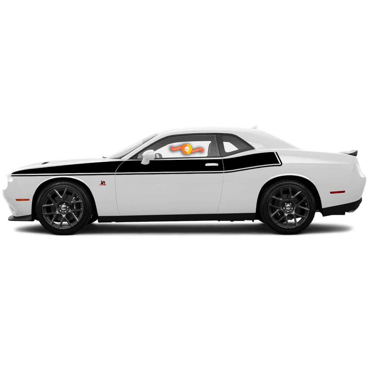 Dodge Challenger für 2015-2018 Seitenstreifen Nadelstreifen Bodyline Akzent Aufkleber Aufkleber Grafiken