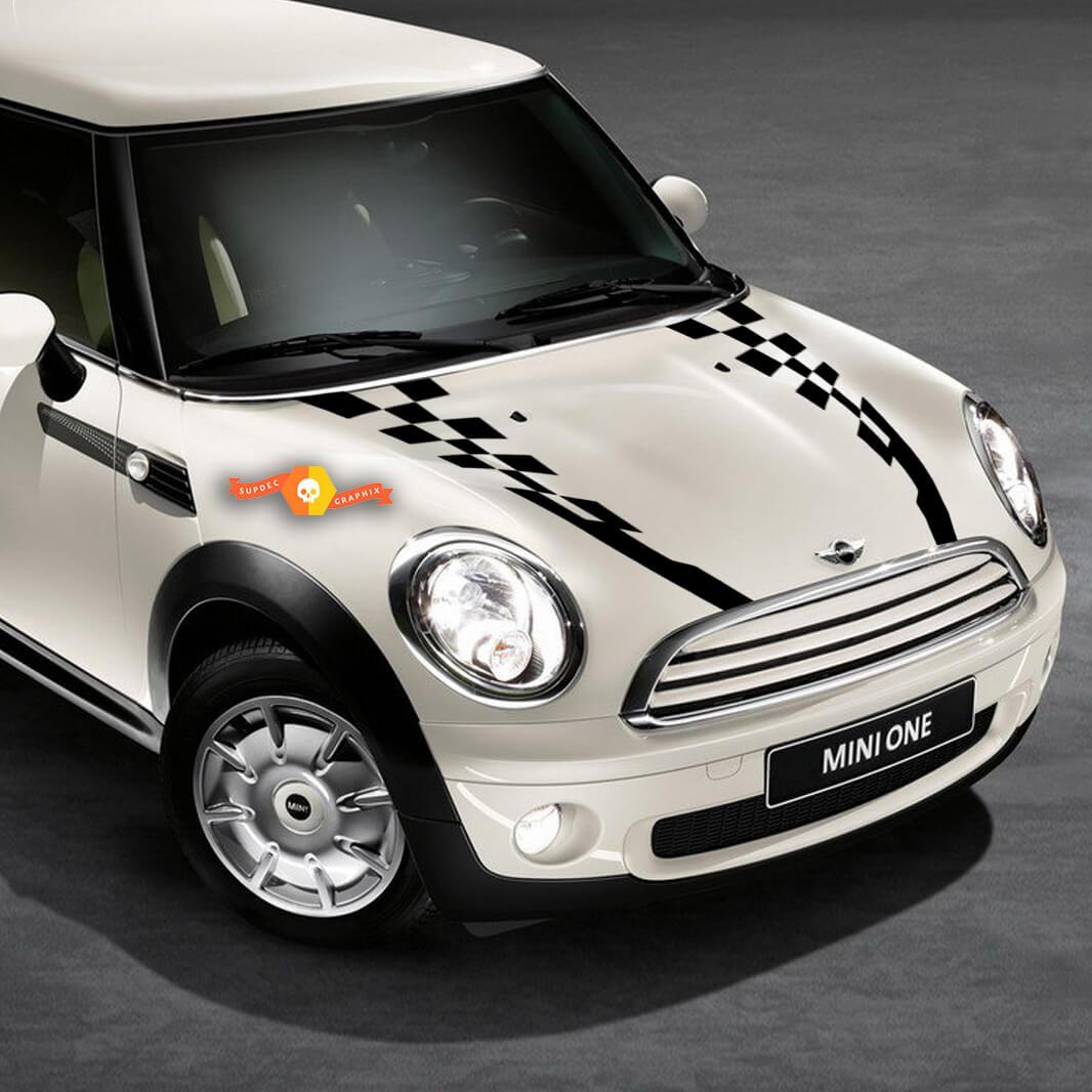 2007-2017 Mini Cooper Karierte Motorhaube Seitenrückseite Motorhaube Racing Stripes Aufkleber
