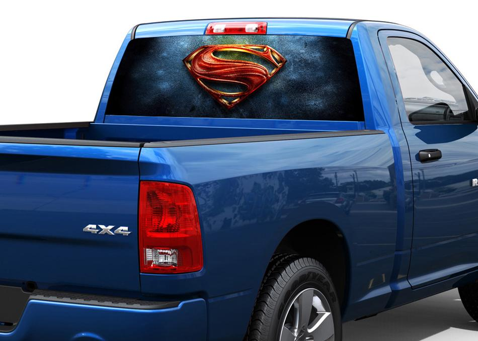Superman art rear window decal sticker pick up truck suv car