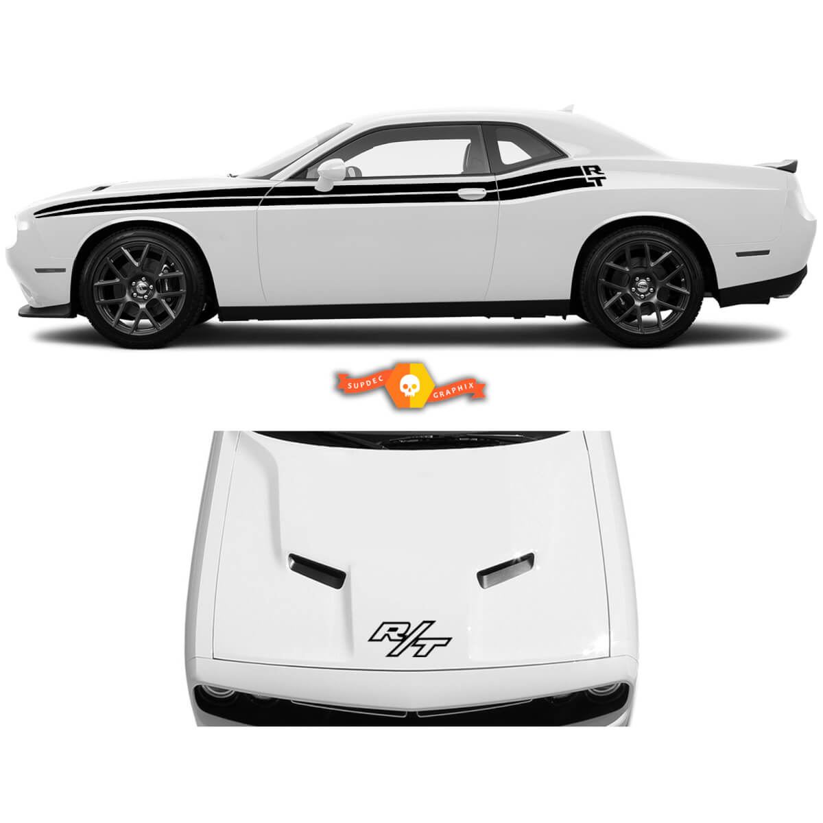 Seitentreife-Kit des klassischen Stils für 2008-2021 Dodge Challenger-Streifen