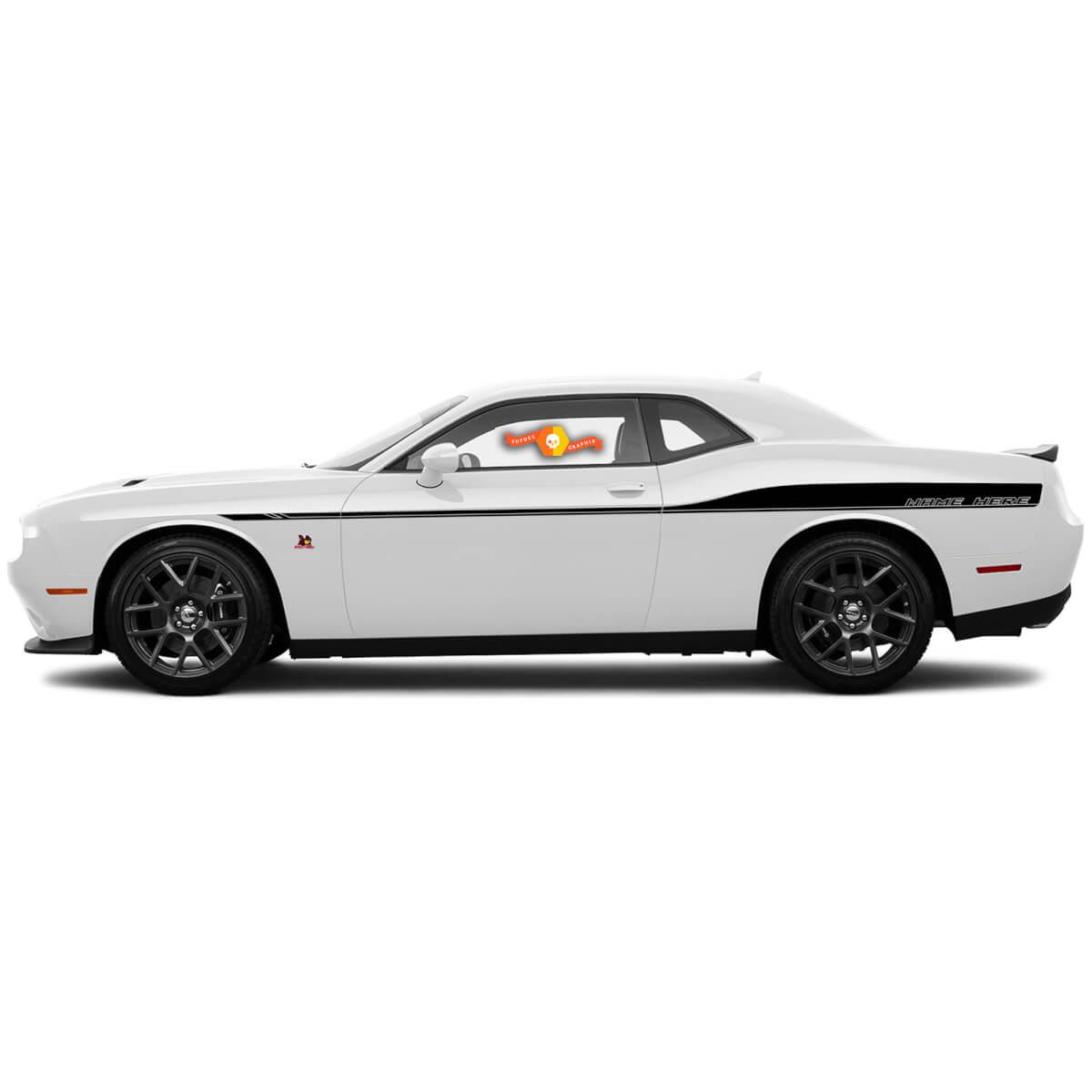2 Dodge Challenger Stripes Abziehbilder Kundenspezifische Text Vinylgrafiken 15 16 17 2018 2019 2020 2021