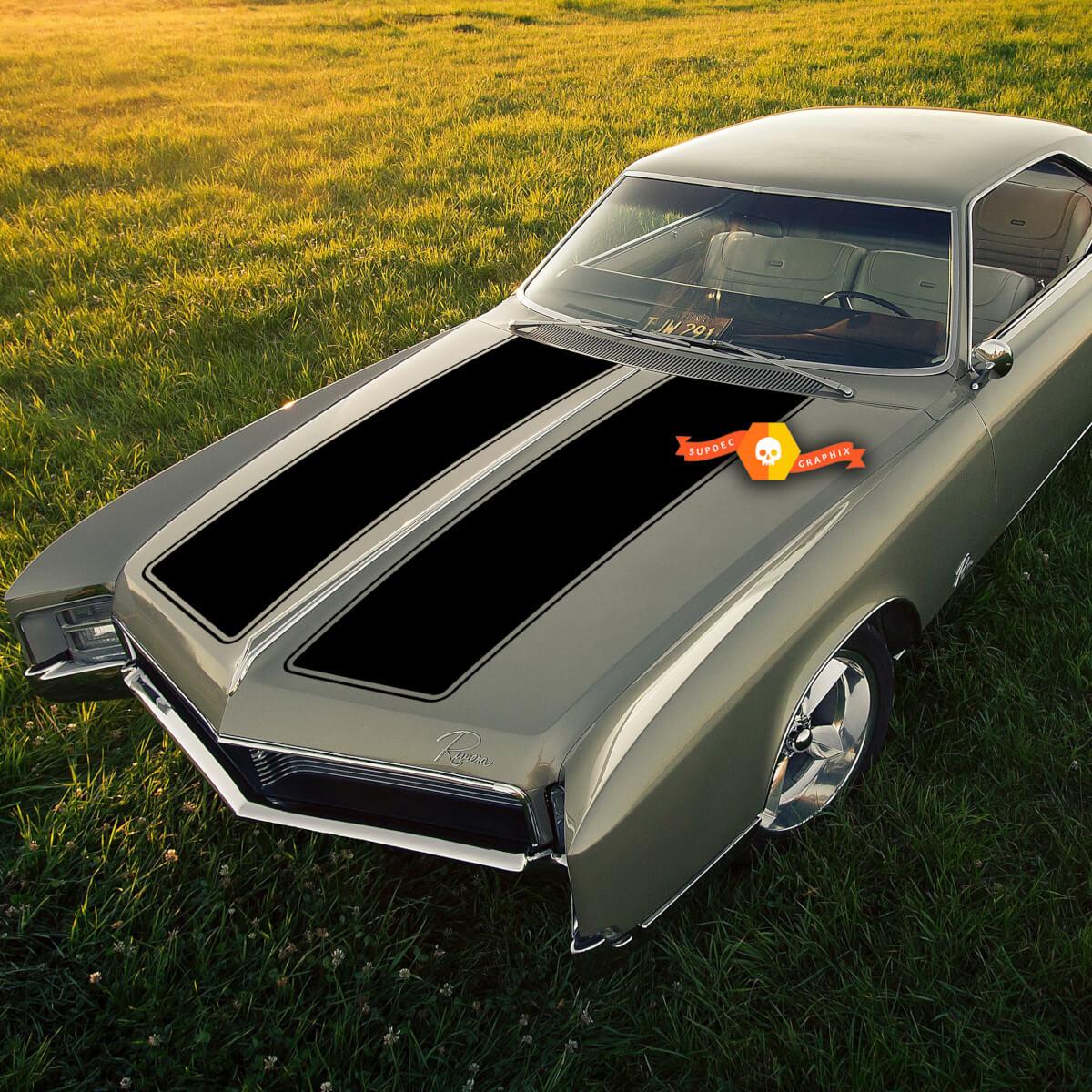 1968+ Buick Riviera GS Hood Decals Graphics Aufkleber Streifen