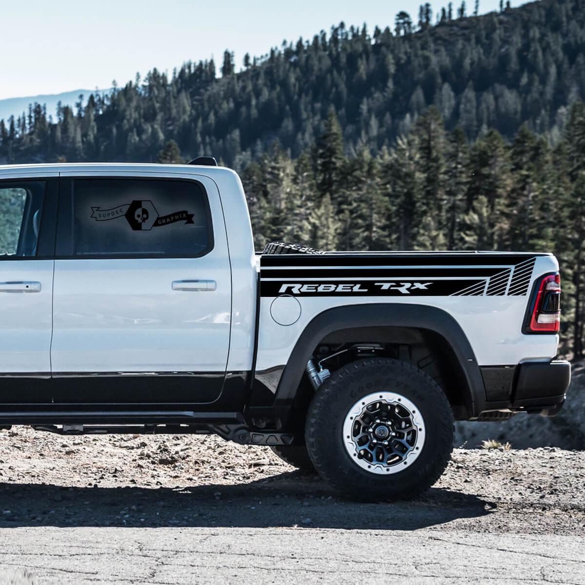 Paar Dodge Ram Rebell 2021+ Bett Side Streifen Grunge Truck Vinyl Aufkleber Bett Grafik