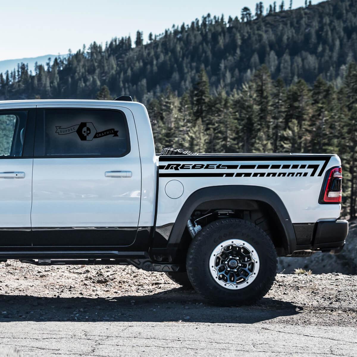 Neue Paar Dodge RAM Rebell 2021+ Bett Side Streifen Grunge Truck Vinyl Aufkleber Bett Grafik