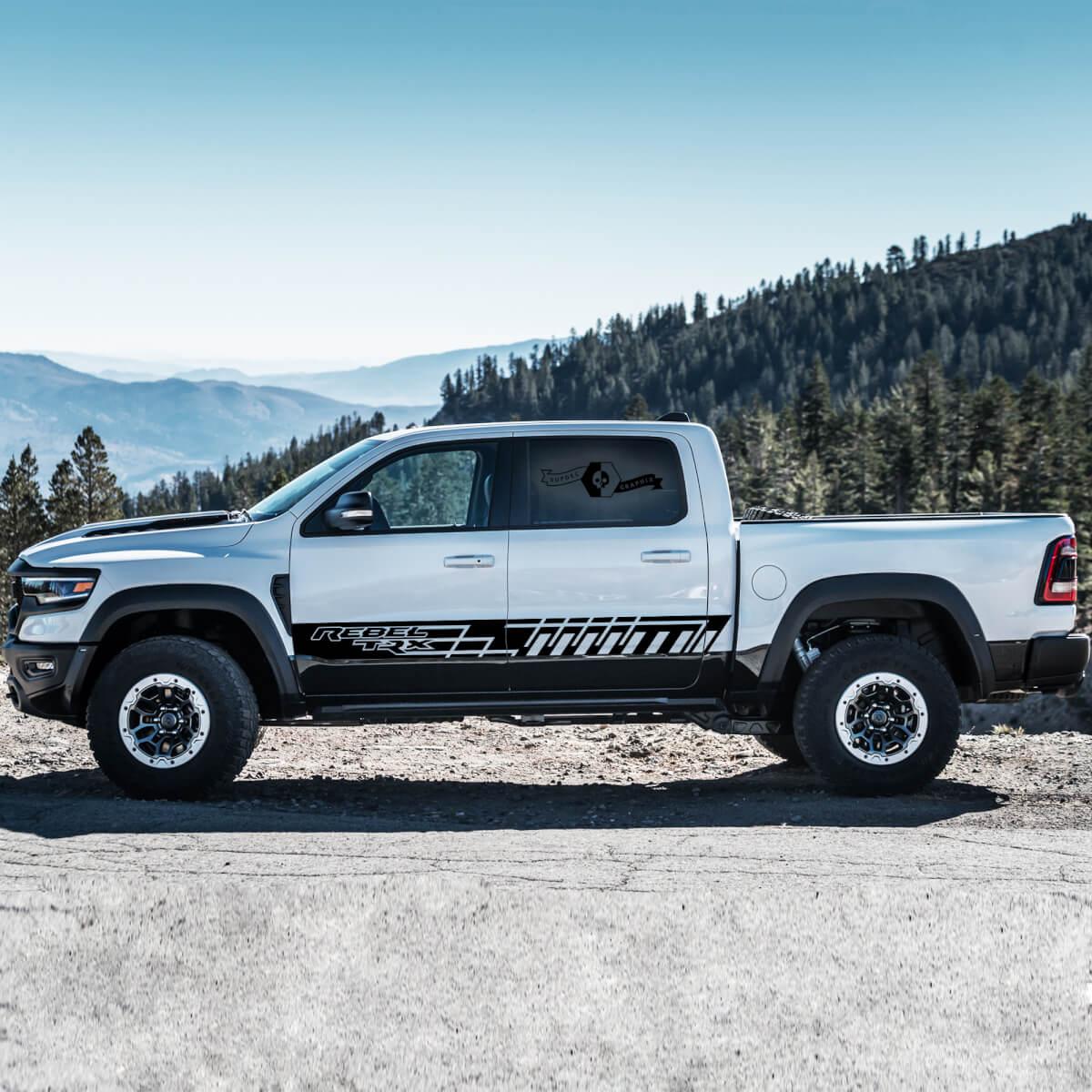 Neue Paar Dodge Rebel TRX 2021 + Türseite Streifen Grunge Truck Vinyl Aufkleber Grafik
