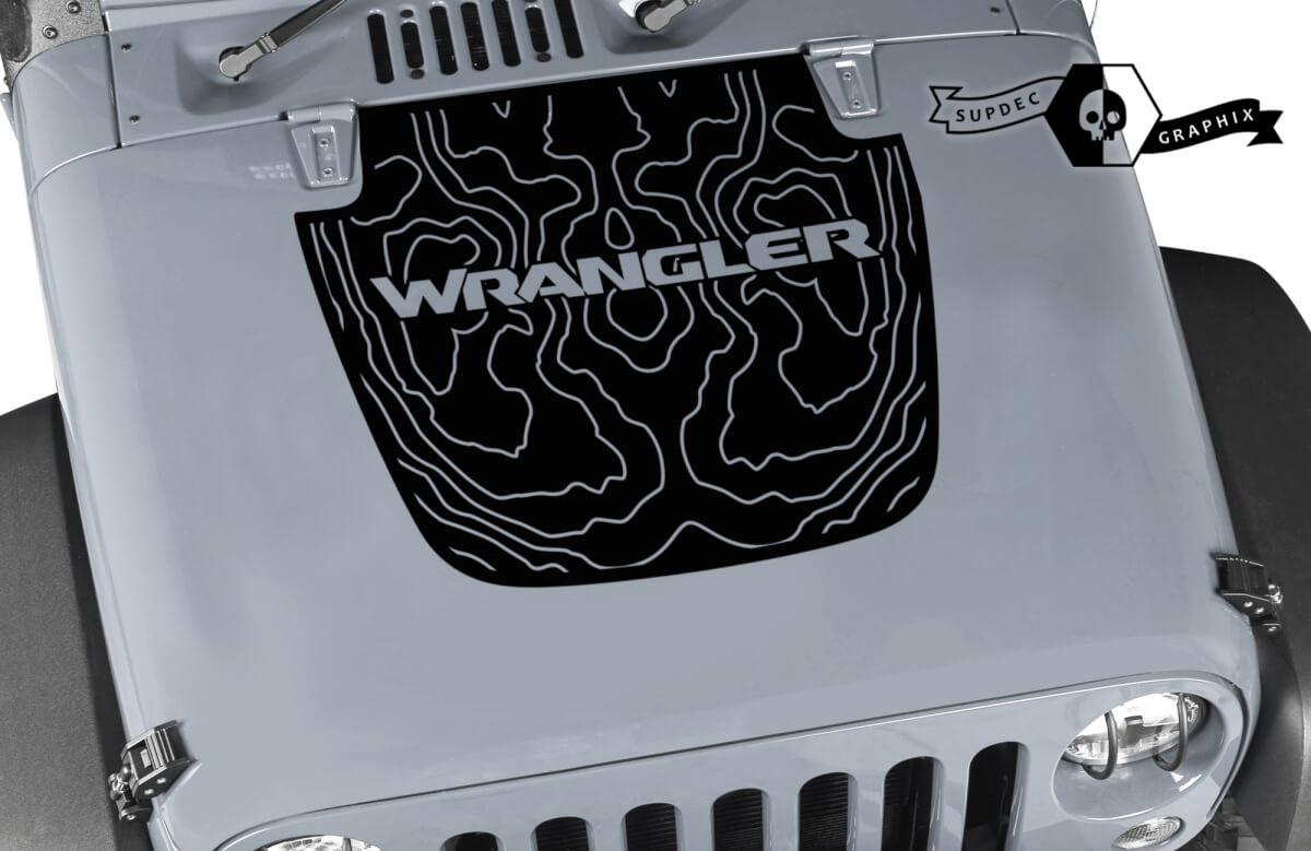 Jeep Wrangler Grafik Kit Vinyl Wrap Decal Blackout Contour Kartenabdeckung Abziehaufnahme