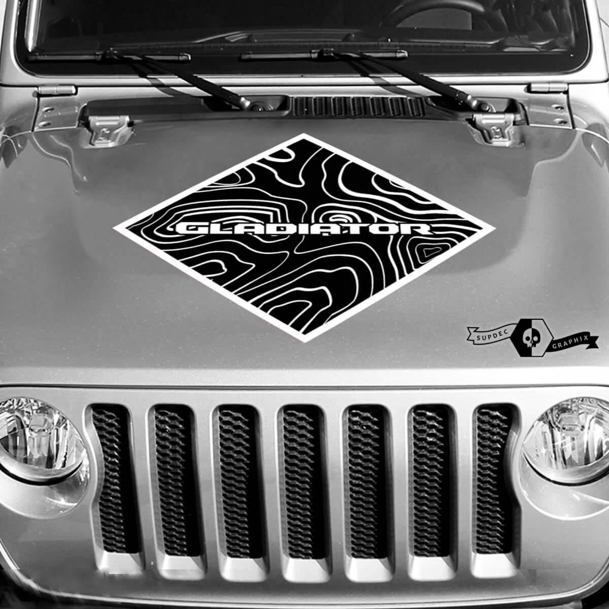 Jeep Graphics Kit Vinyl Wrap Decal Blackout Contour Map Hood Square Stil Aufkleber 2 Farben