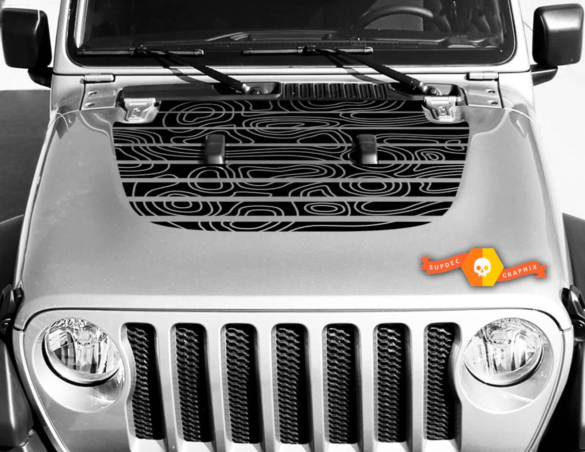 Jeep Hood Vinyl Schädel Blackout Topographische Karte Aufkleber Aufkleber Wrangler
