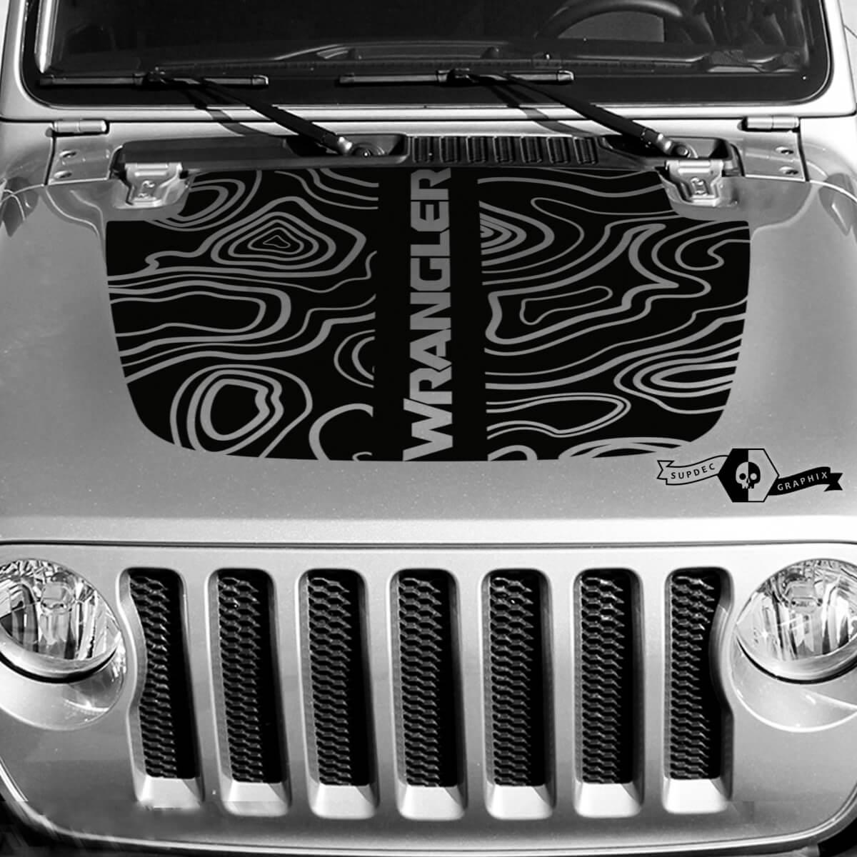 Neue Jeep Hood Vinyl Blackout Topographische Karte Aufkleber Aufkleber Text Wrangler