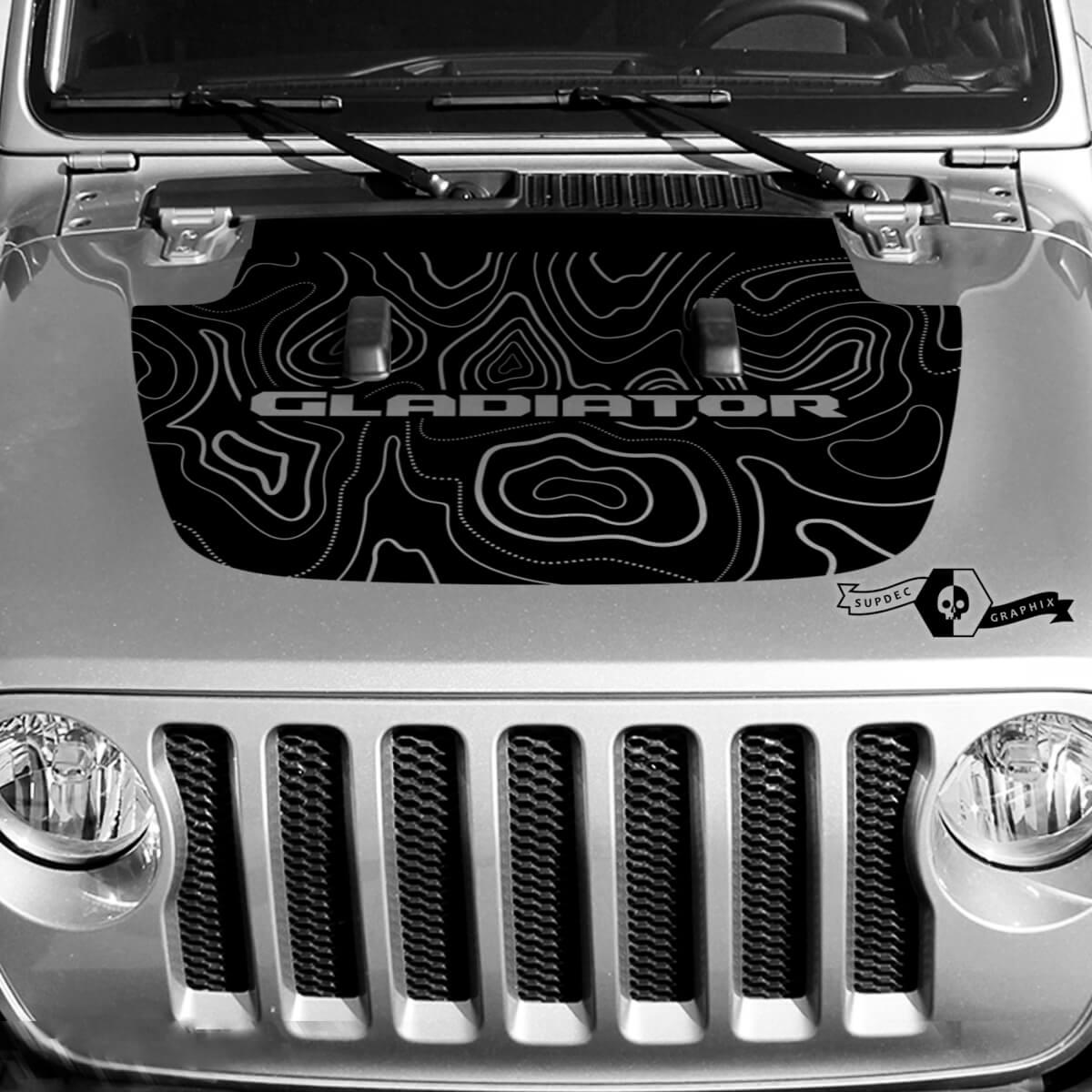 Jeep Gladiator Hood Vinyl Blackout Topographische Konturkartenabziehbild Aufkleber