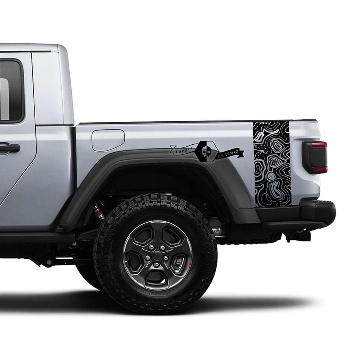 2 Jeep Gladiator Graphics Kit Vinyl Wrap Aufkleber Kontur Karte Seitenbett Streifen Aufkleber