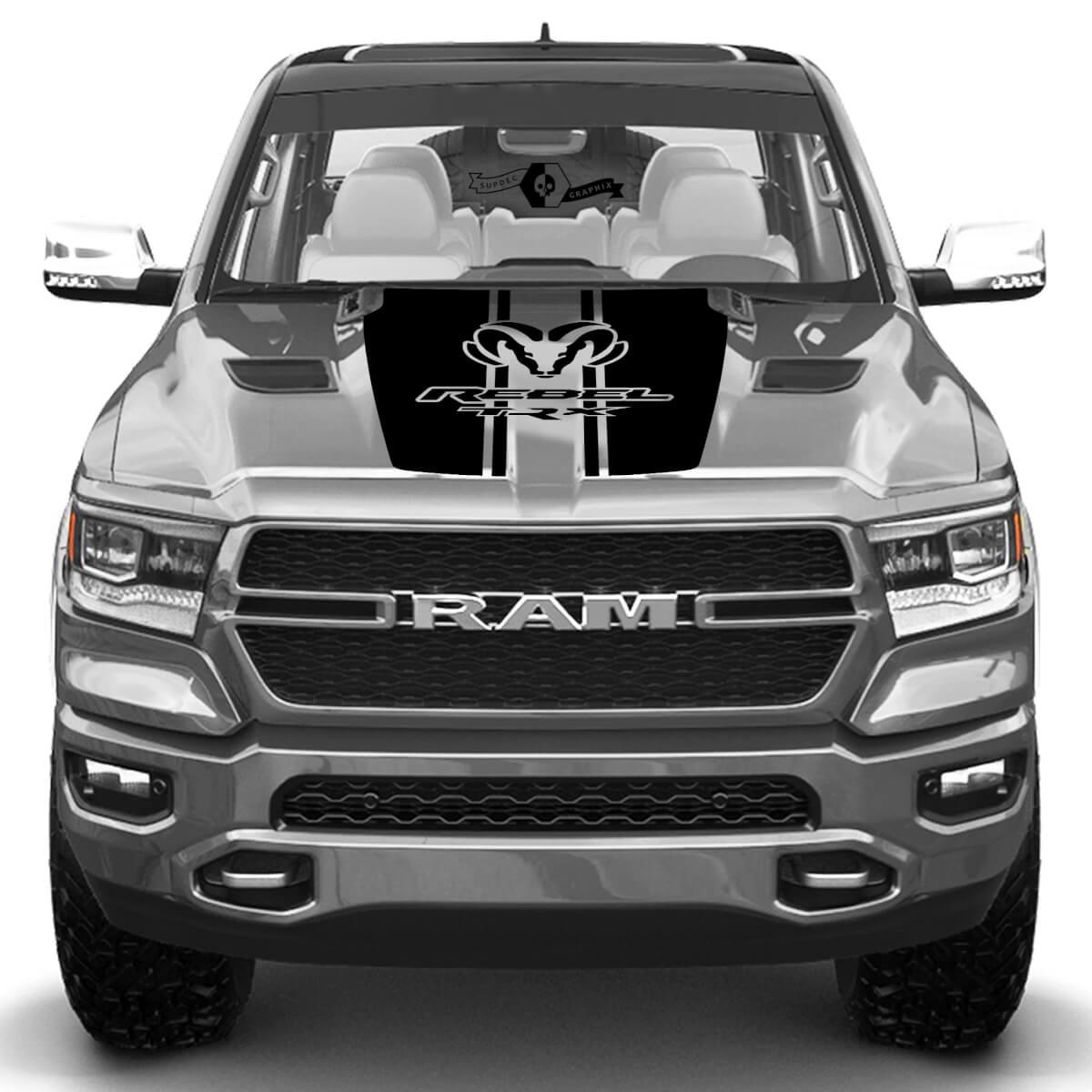 Neue Dodge Ram Head Rebel TRX Hood Truck Vinyl Aufkleber Grafik
