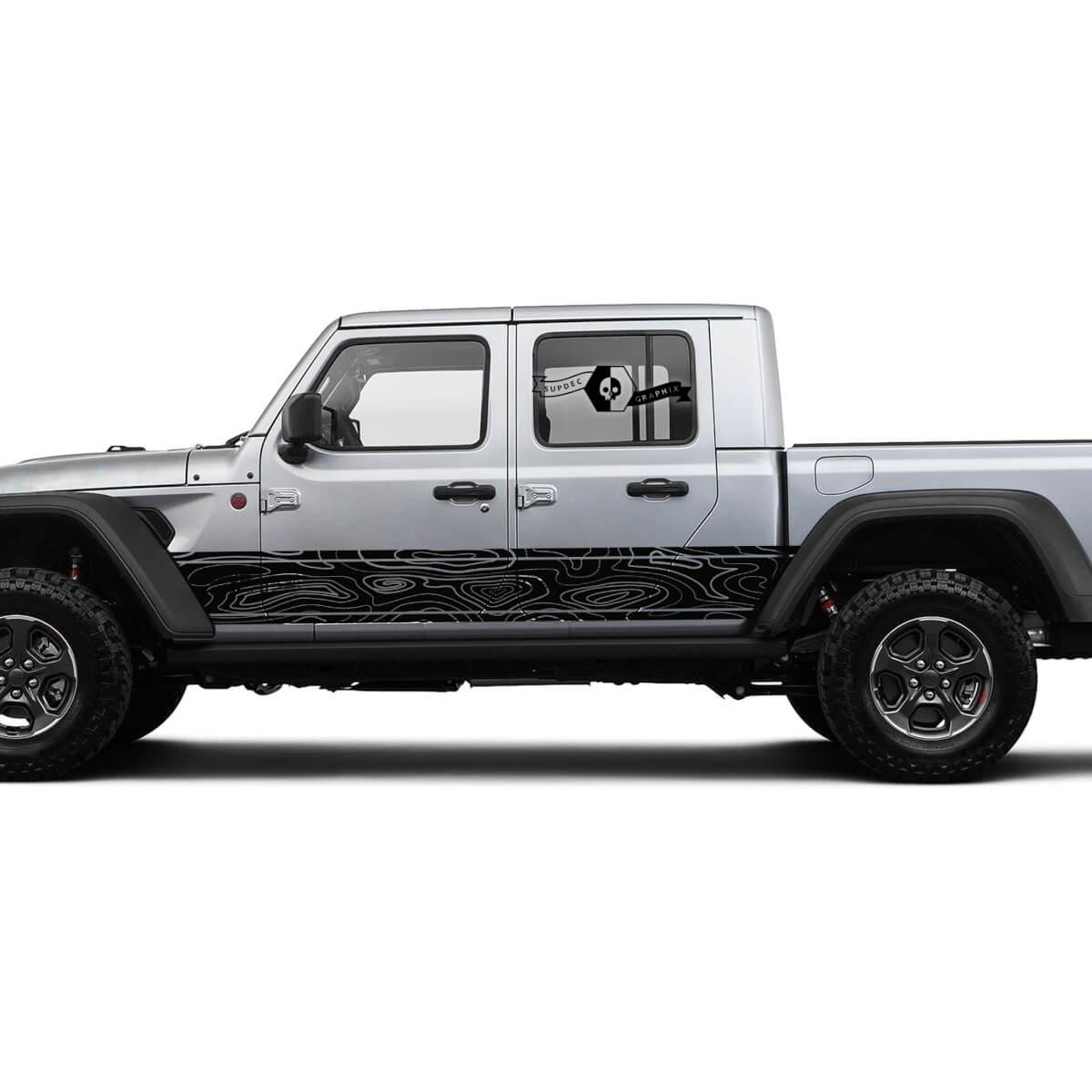 Jeep Gladiator Seitentür Einzigartige Aufkleber Kontur Karte Vinyl Aufkleber Aufkleber Graphics Kit für JT 2018-2021