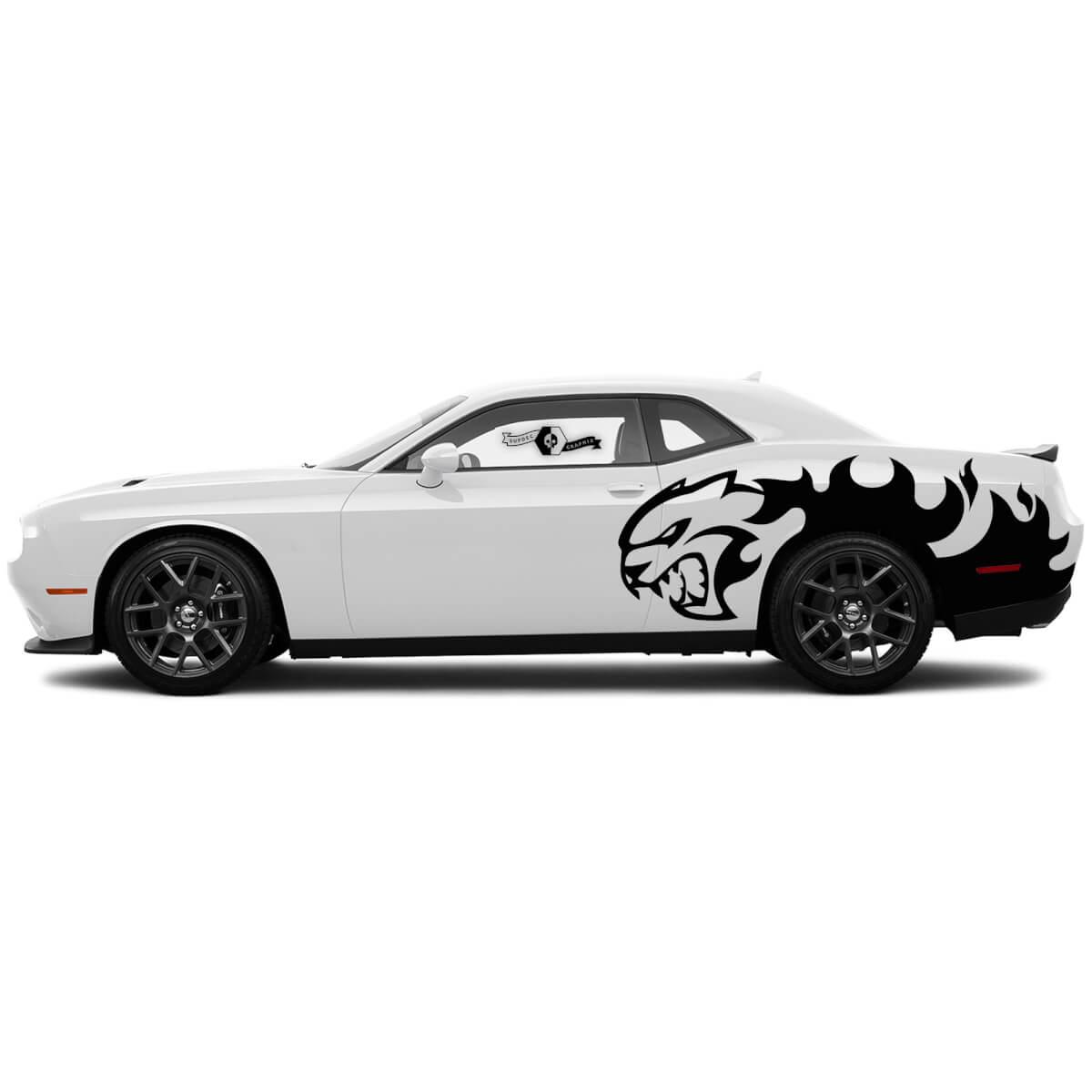 Paircat Abziehbilder für Dodge Challenger Splash Flames Seitenvinyl-Aufkleber Aufkleber
