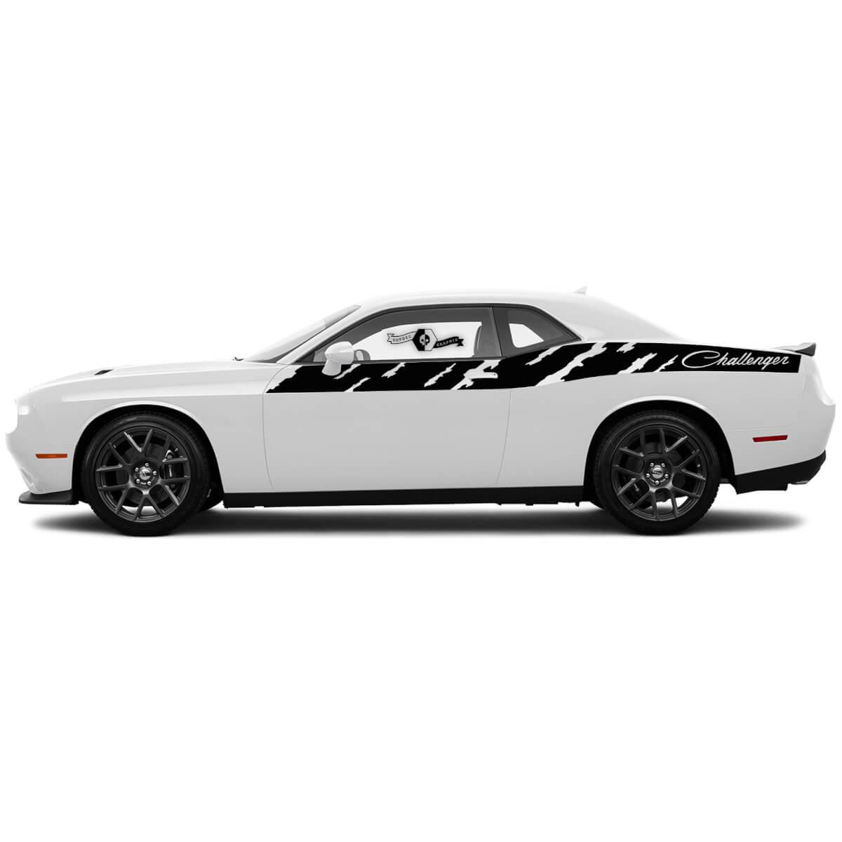 Paar SRT Hellcat Abziehbilder für Dodge Challenger zerstörte Streifen Türseite Vinylaufkleber Aufkleber