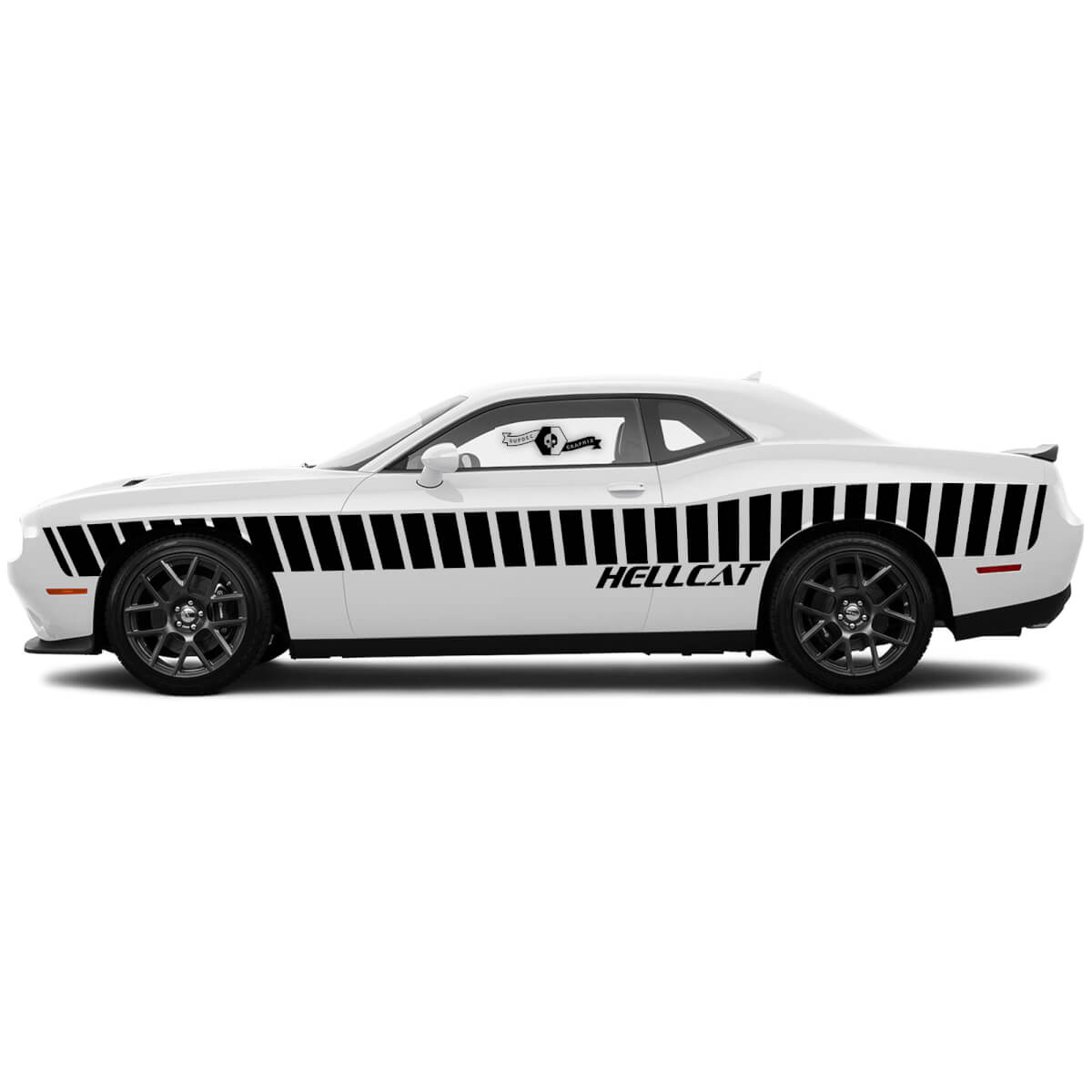 Paar geneigtes Seitentür Rennstreifen Abziehbilder für Dodge Challenger Hellcat Vinyl-Aufkleber Aufkleber