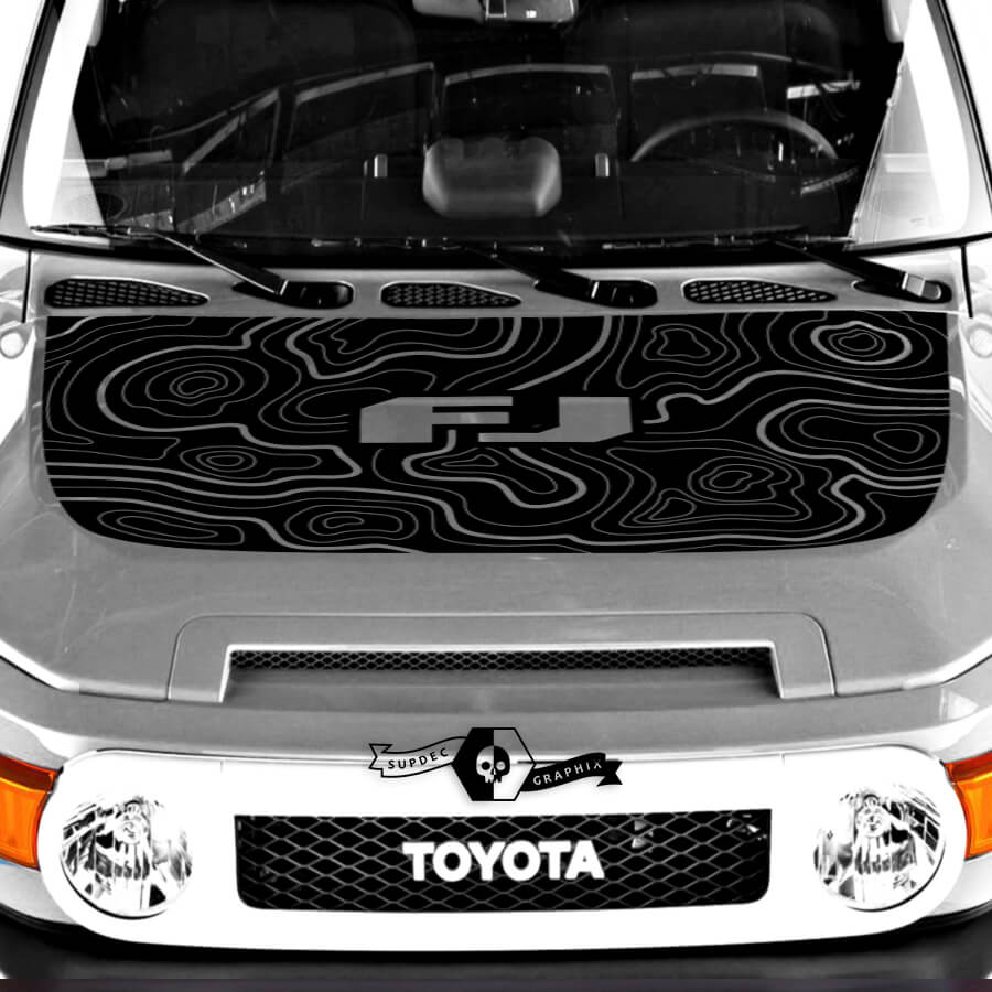 Neue Toyota FJ Cruiser Hood-Aufkleber-Kontur-Karten-Aufkleber