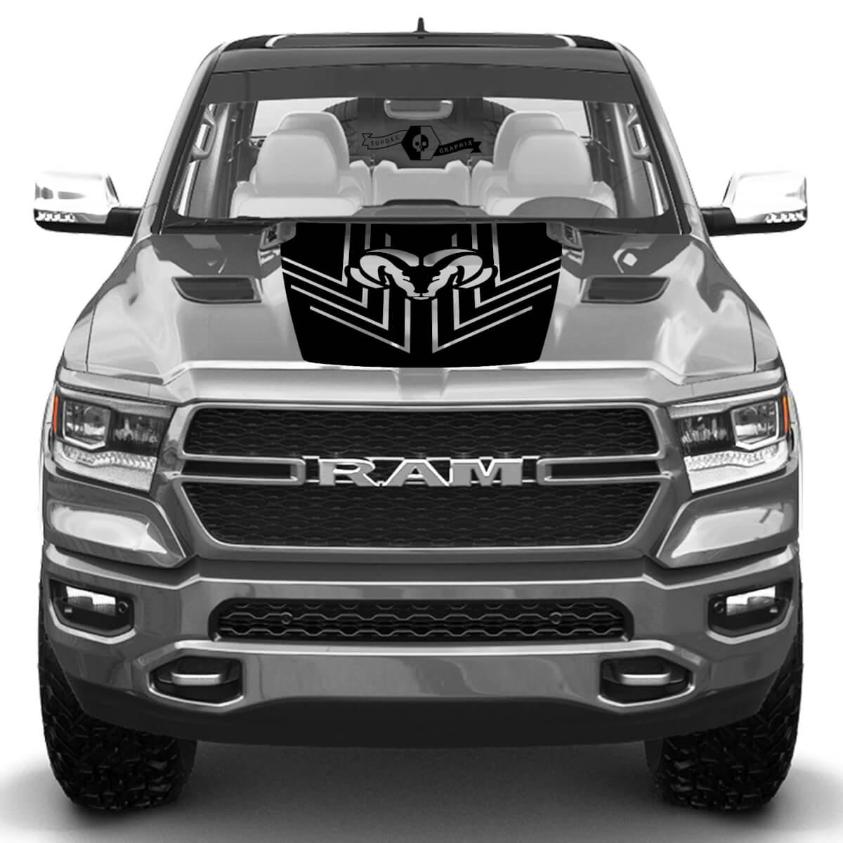 New Hood Dodge Ram Head Rebel Pfeil Line Truck Vinyl Aufkleber Grafik