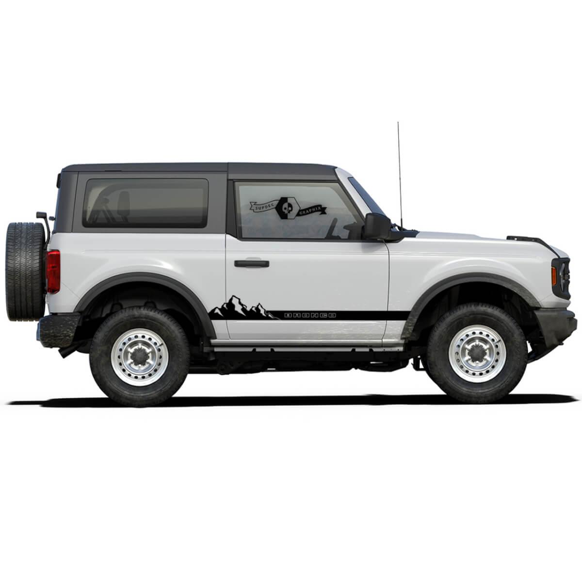 Paar Berge Rocker Panel Seitenaufkleber Aufkleber für Ford Bronco 2021 - JETZT