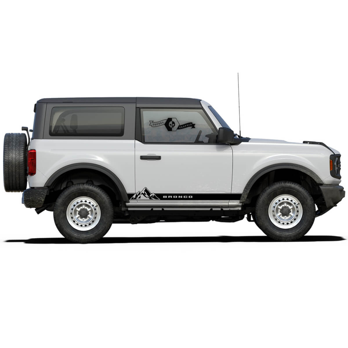 Pair of Mountains Style Rocker Panel Side Decals Stickers for Ford Bronco 2021 - now
