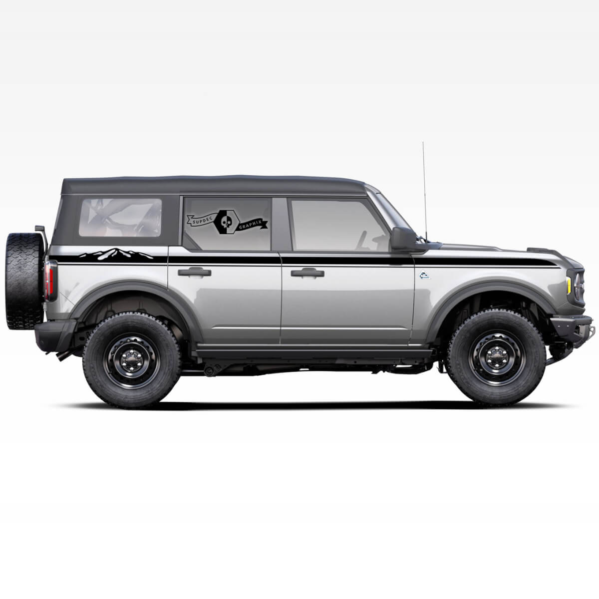 Pair of Mountains Style Rocker Panel Side Stripes Decals Stickers for Ford Bronco 2021 - now