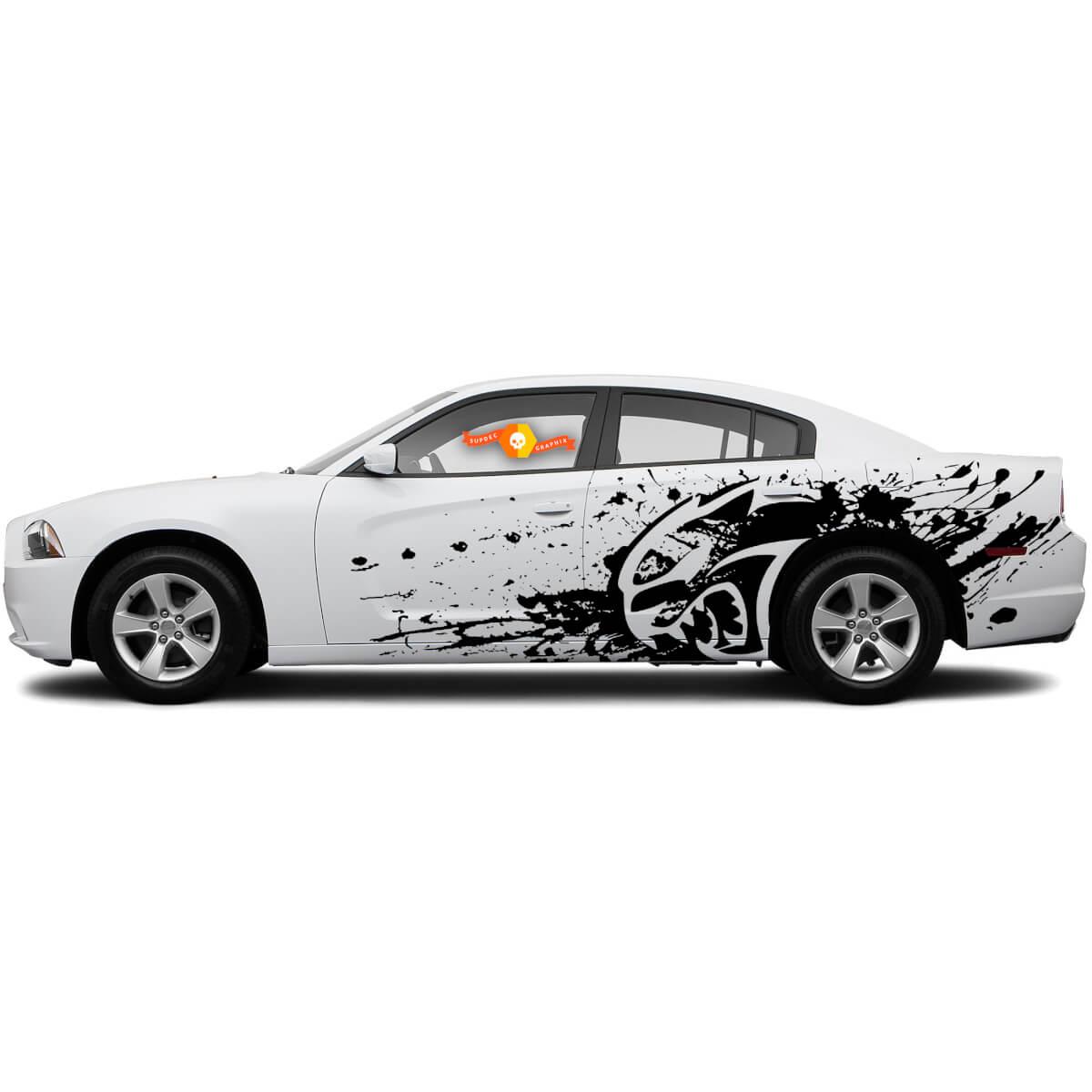 New Dodge Charger Hellcat style Splash Grunge Stripes Kit Vinyl Decal Graphic