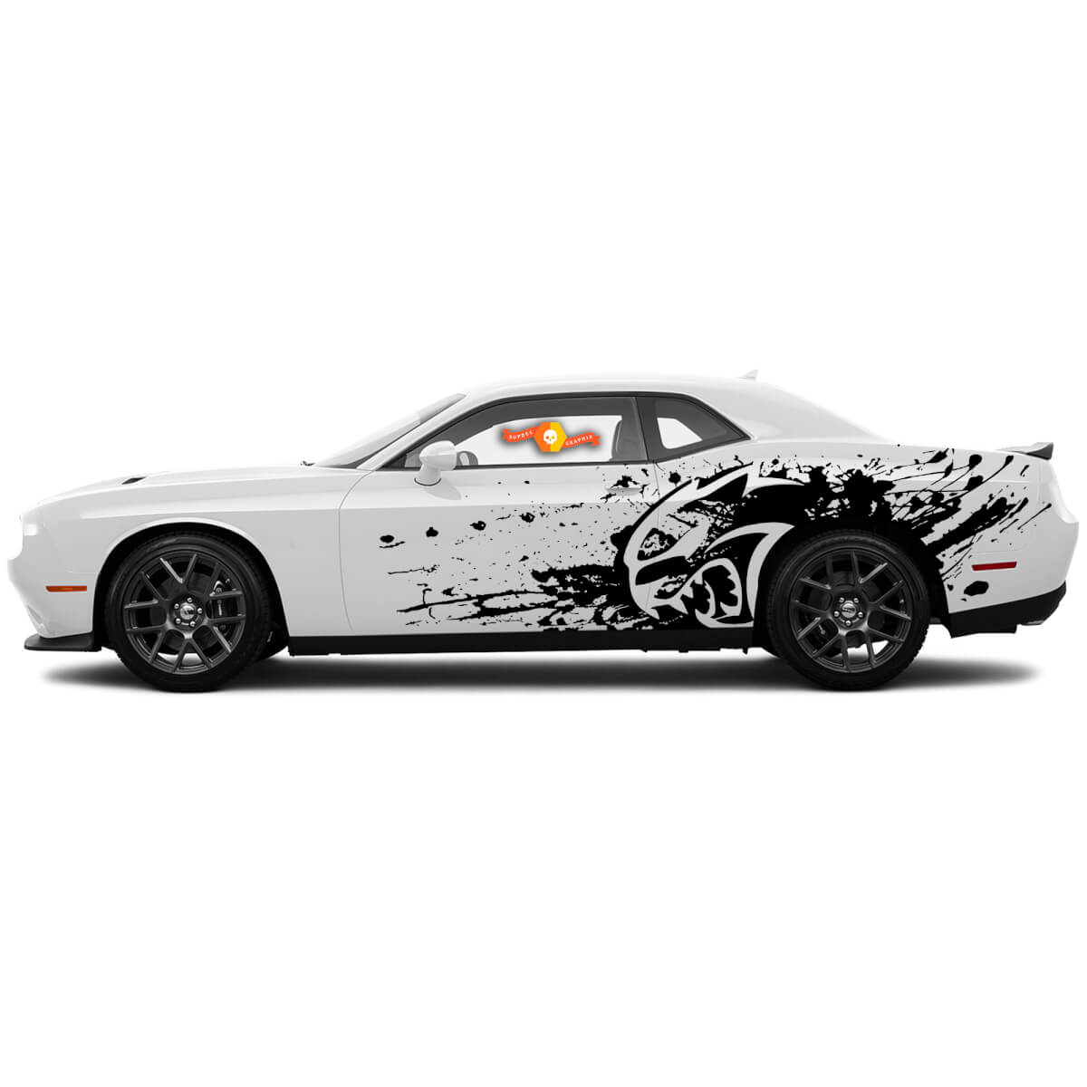 New Dodge Challenger Hellcat Star style Splash Grunge Stripes Kit Vinyl Decal Graphic