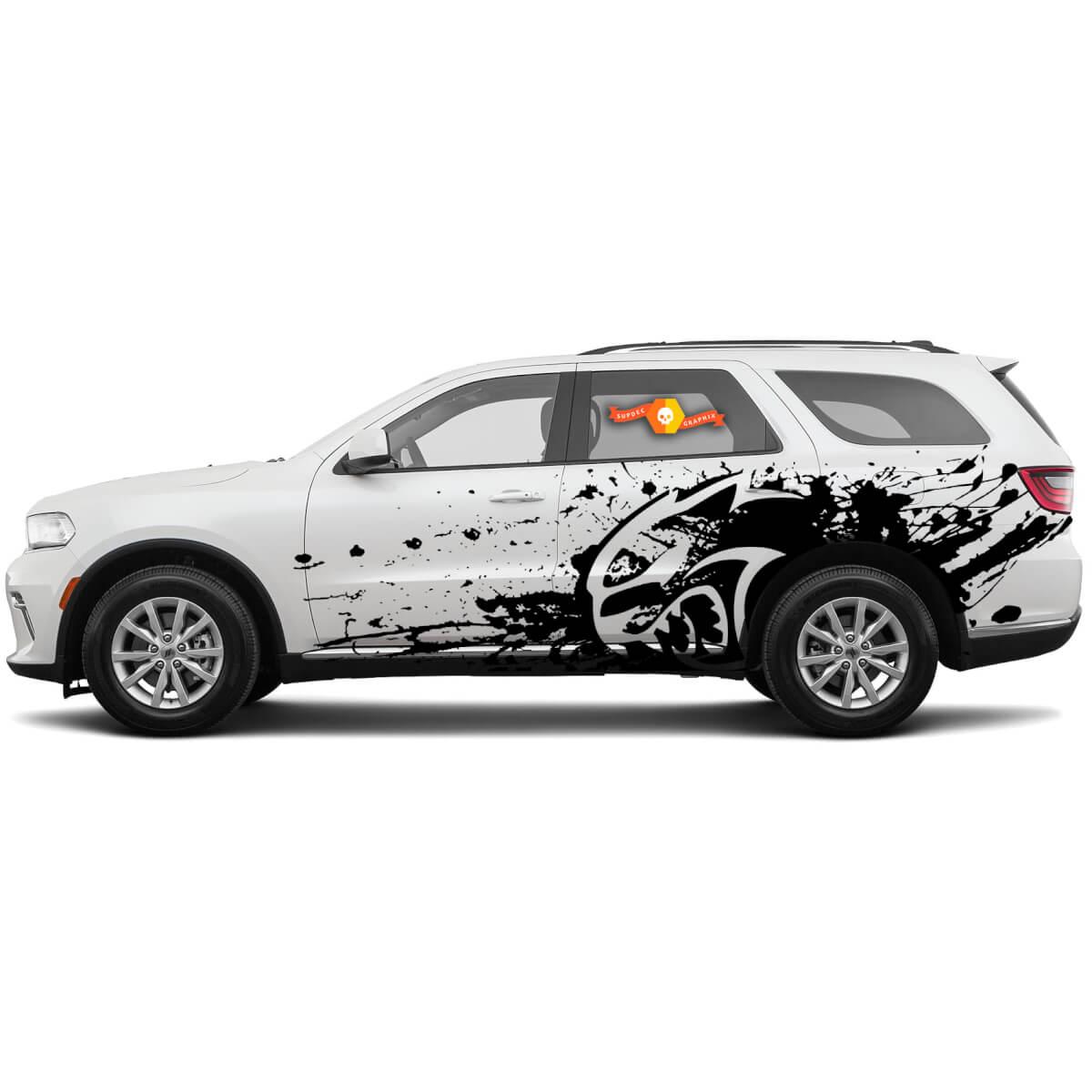 Neue Dodge SRT Durango Hellcat Sternstil Splash Grunge Stripes Kit Vinyl Aufkleber Grafik