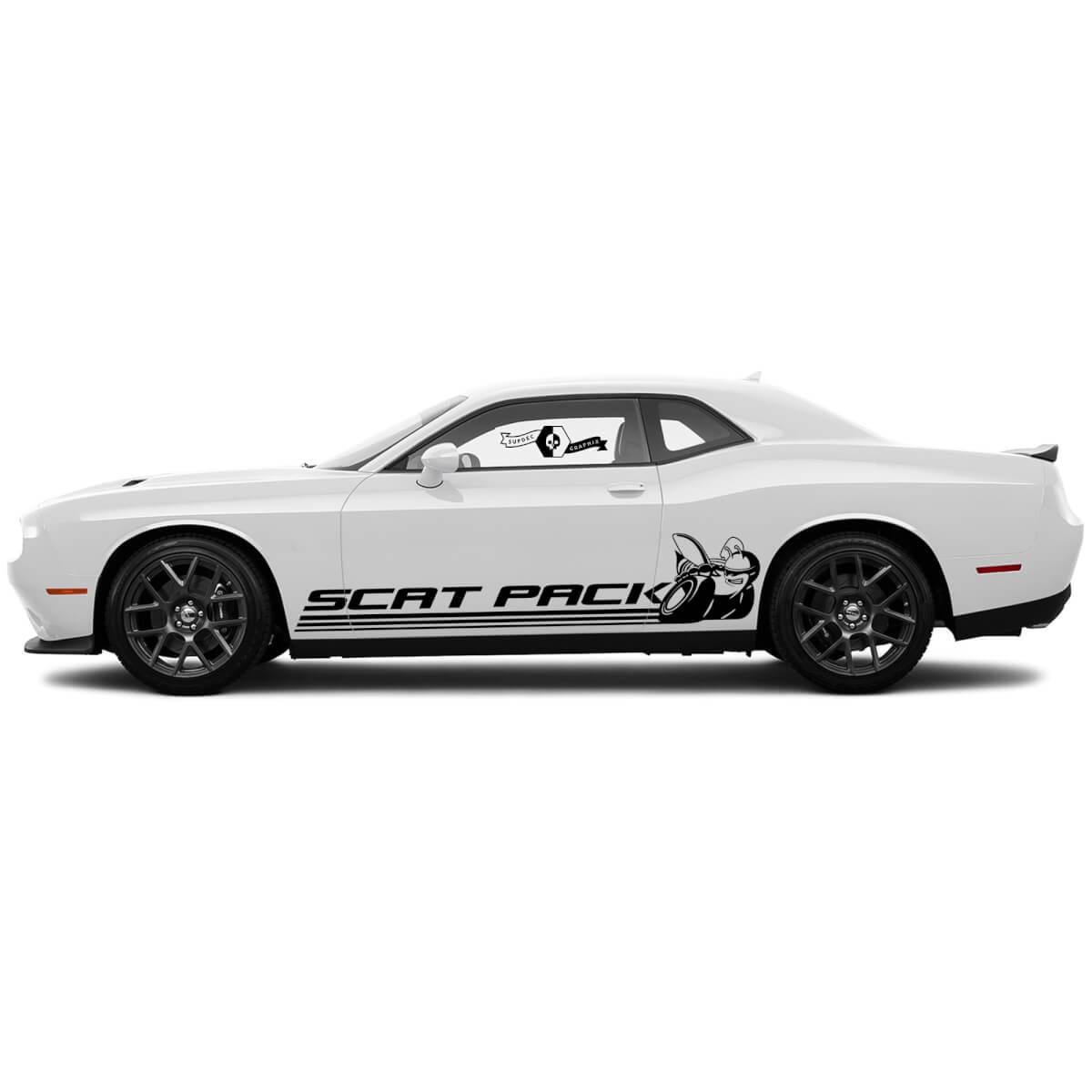 Scat Pack Lines Seitenaufkleber für Dodge Challenger oder Ladegerät Vinylaufkleber Aufkleber # 2