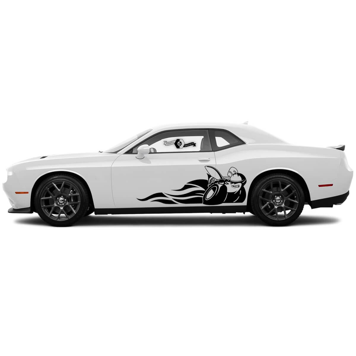 2 Side Dodge Challenger Scat Pack Flames Side Vinyl Decals Graphics Aufkleber