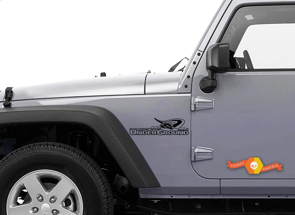2 Jeep Mopar UnderGround Wrangler Hood Aufkleber Aufkleber