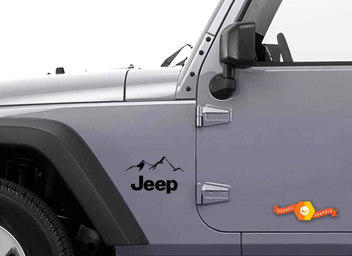 2 Jeep Mountain JK Hood Colors Sticker Decal#3