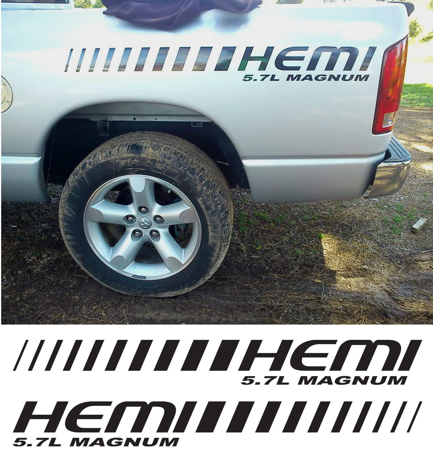 2 - Dodge HEMI 5.7 MAGNUM Ram Truck Decals Stickers