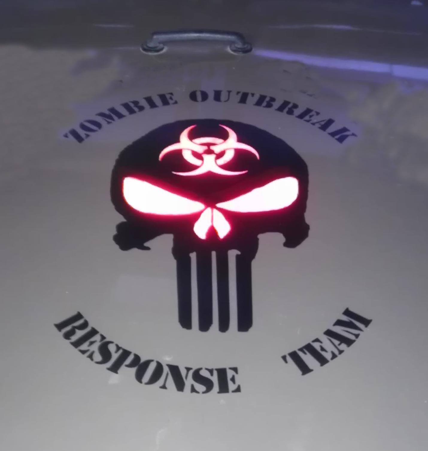 Zombie Outbreak Response Team Schädel Wrangler Vinyl Aufkleber Aufkleber