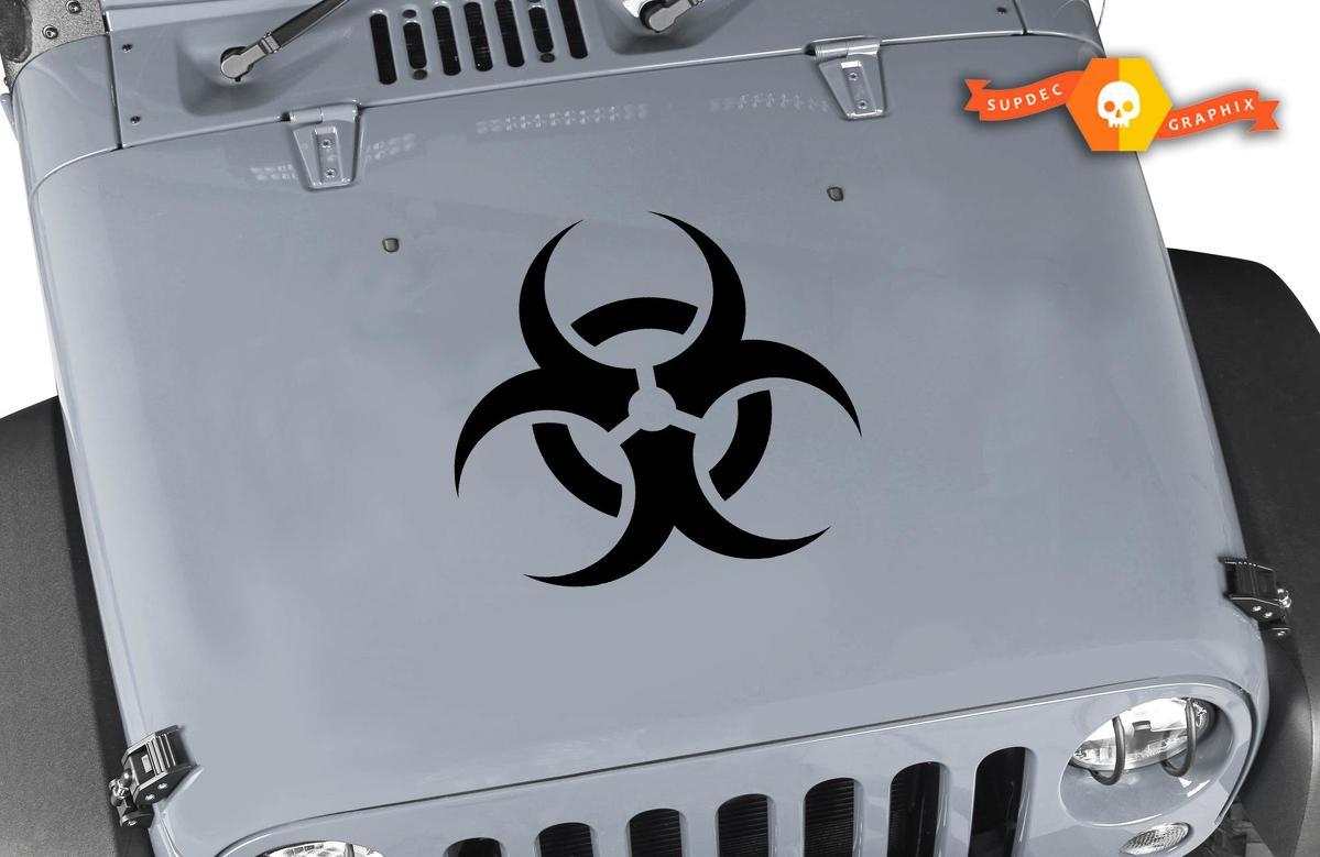 Zombie Jeep Biohazard Hood Hazmat Wrangler Vinyl Aufkleber
