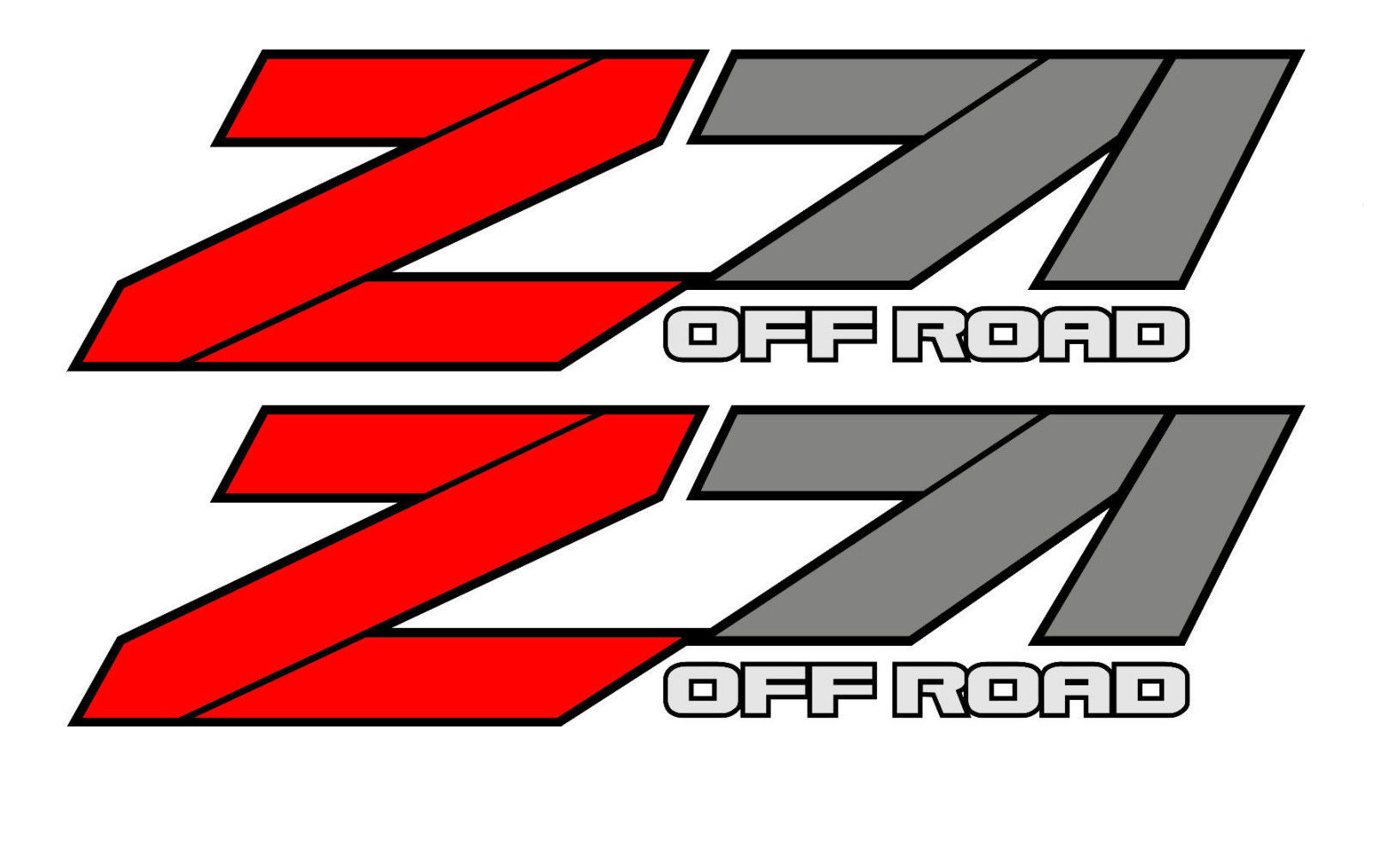 2 OFF ROAD 4x4 Z71 Graphic Decal Stickers fits Chevy Silverado GMC Sierra Red