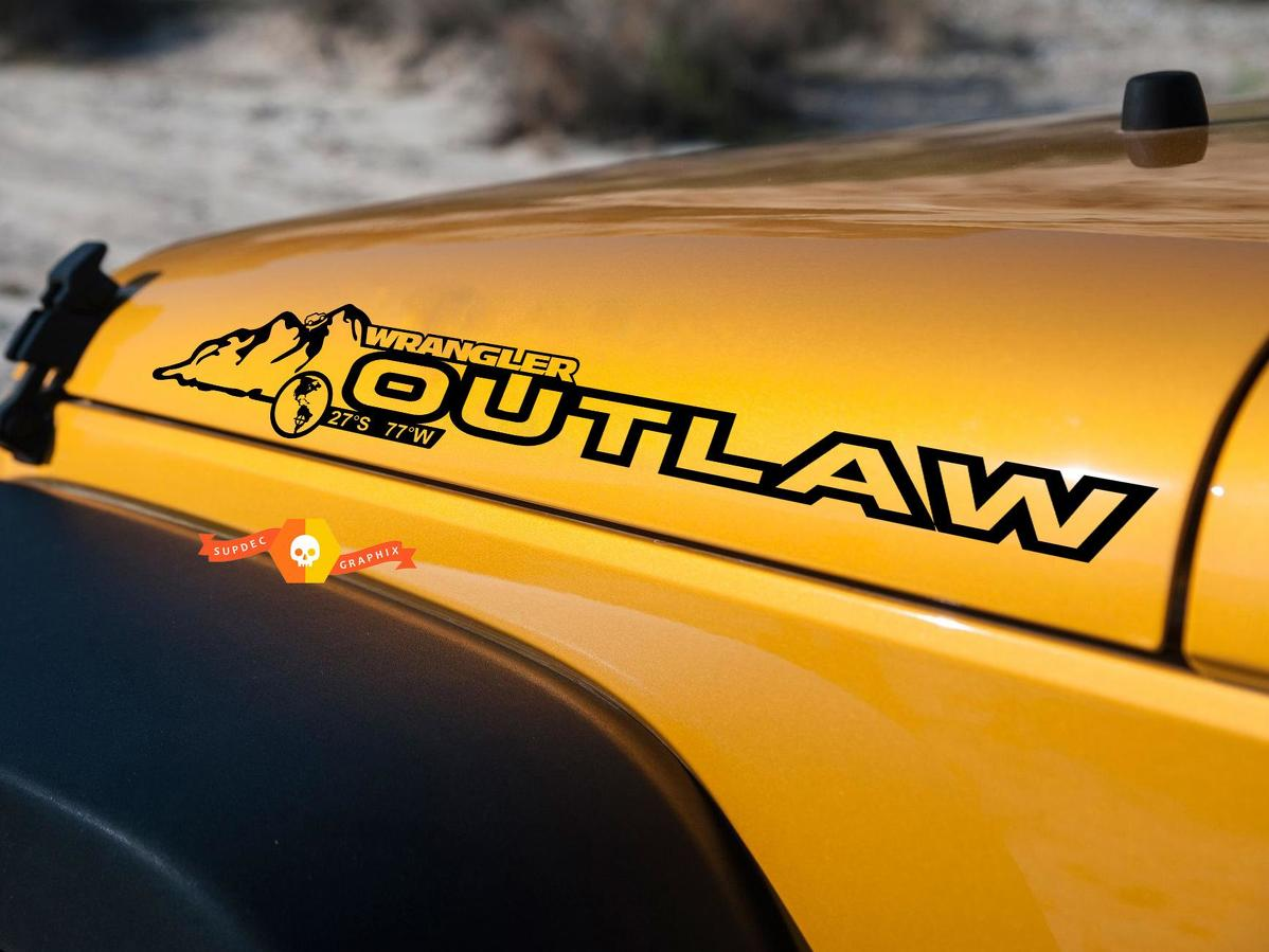 Product Pair Jeep Decal Outlaw Wrangler Hood Decal