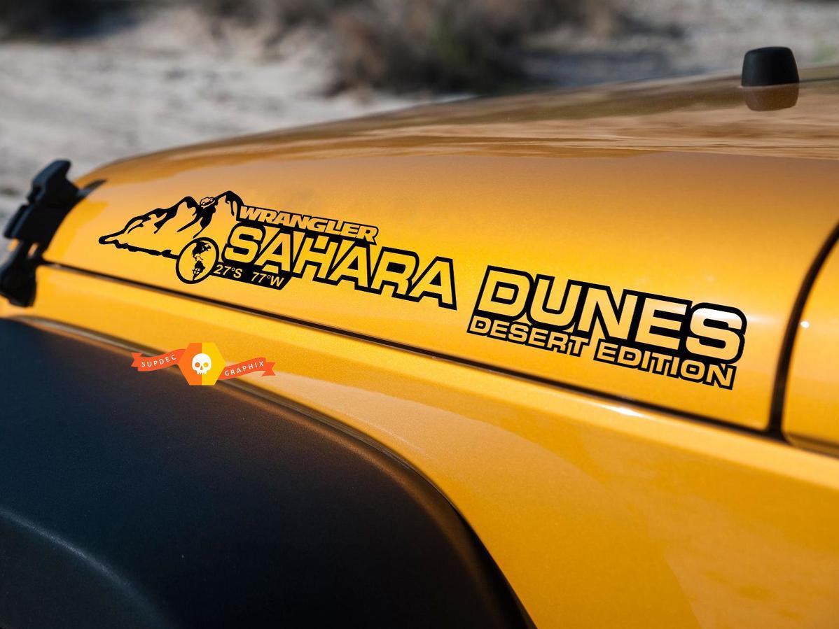 PAIR Jeep Decal Sahara dunes WRANGLER Hood Decal rubicon sahara JK CJ TJ YJ