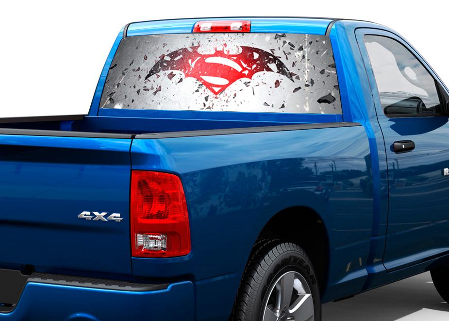 Batman vs superman art rear window decal sticker pick up truck suv car