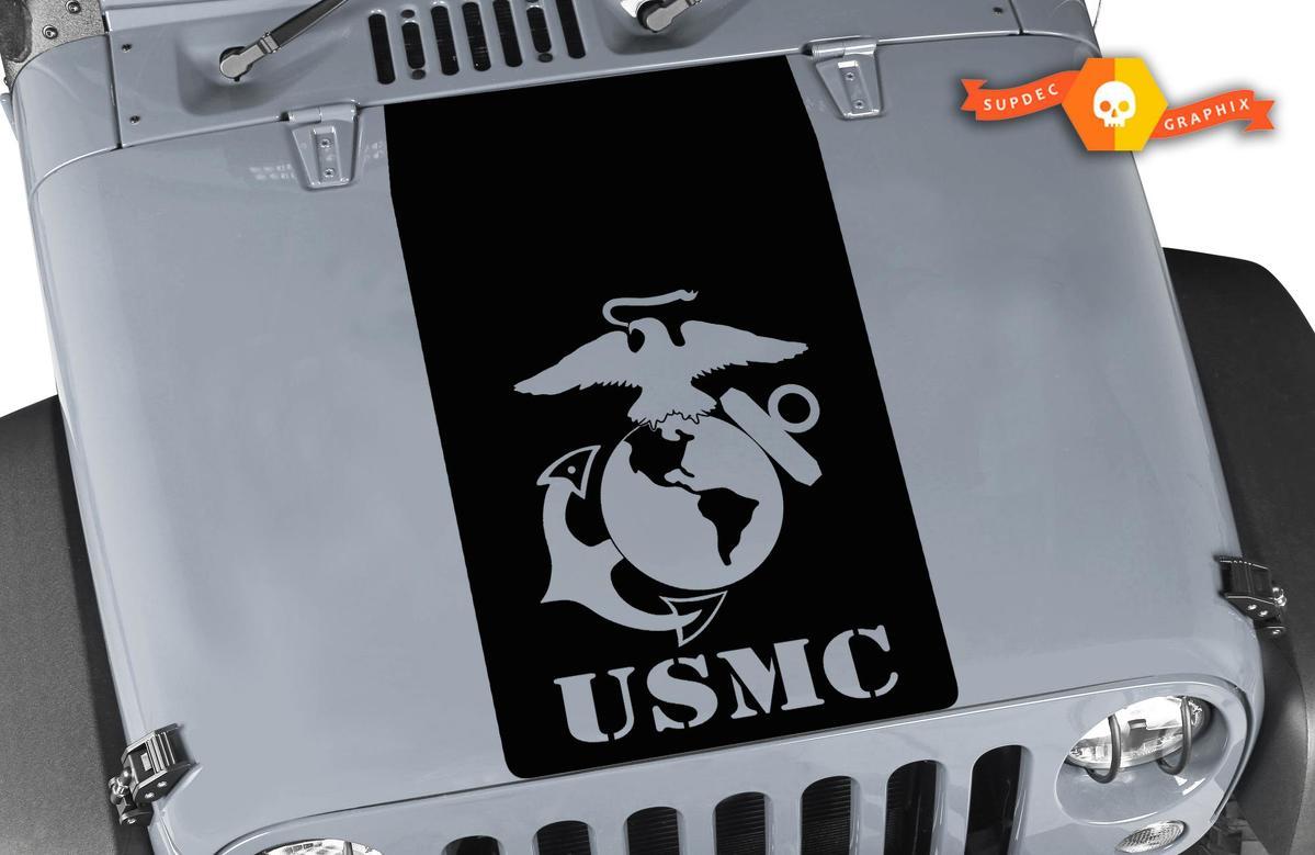 Product Jeep Wrangler Blackout Usmc Logo Vinyl Hood Decal