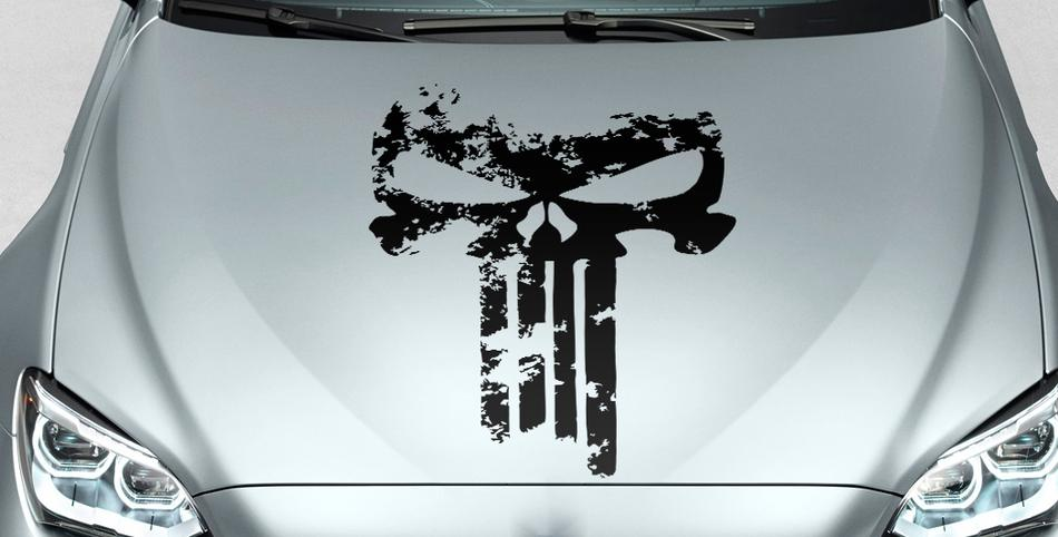 PUNISHER skull Distressed blood hood side vinyl decal sticker for car track suv #22