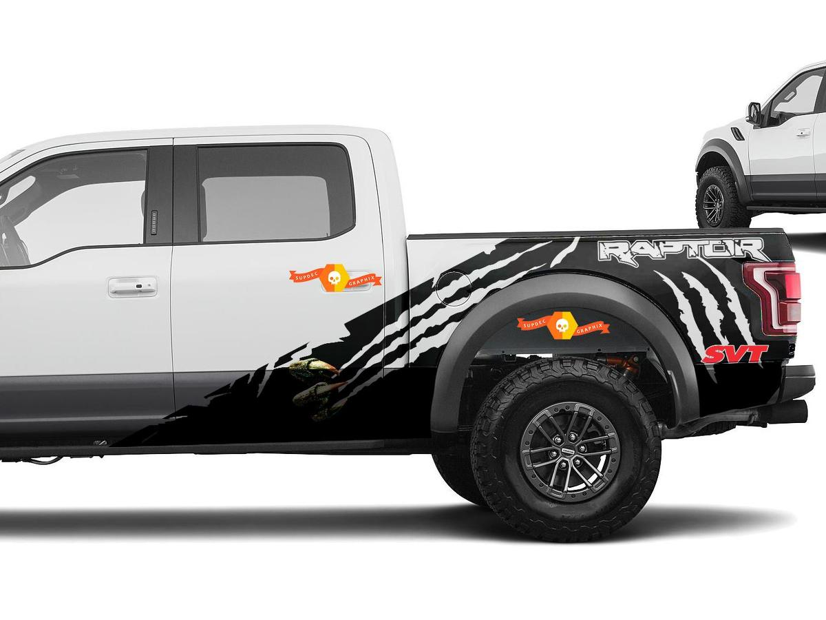 Vinyl Decal Rally Stripes Wrap Kit for Ford F-150 Raptor SVT 2010-2014 Dark Red