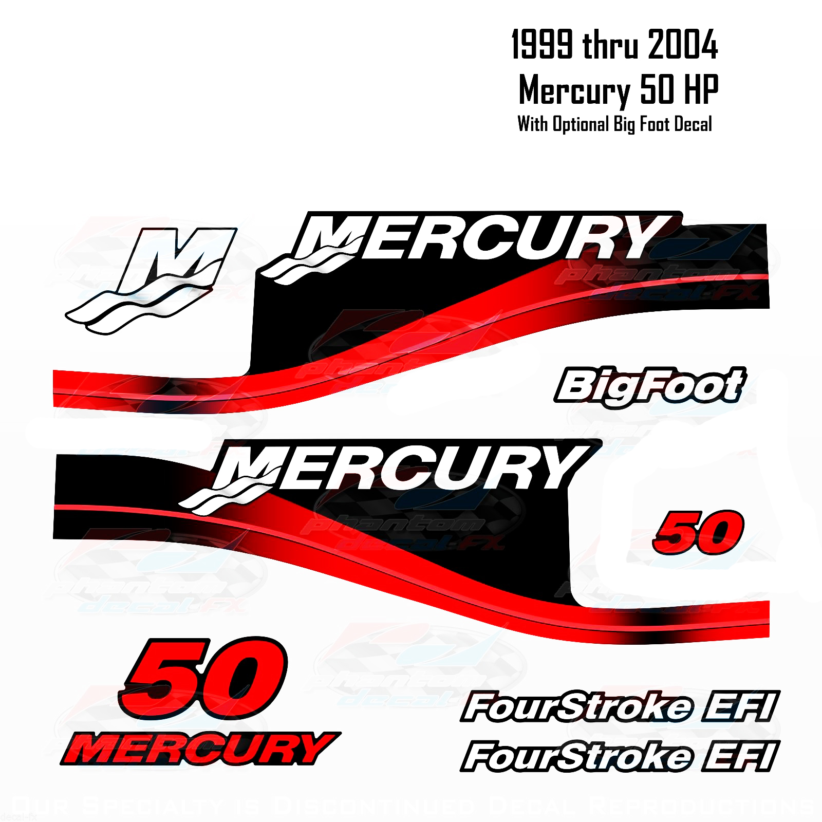 1999-2004 Mercury 50HP Red Decals Two & Four Stroke EFI BigFoot 11 pc Repro