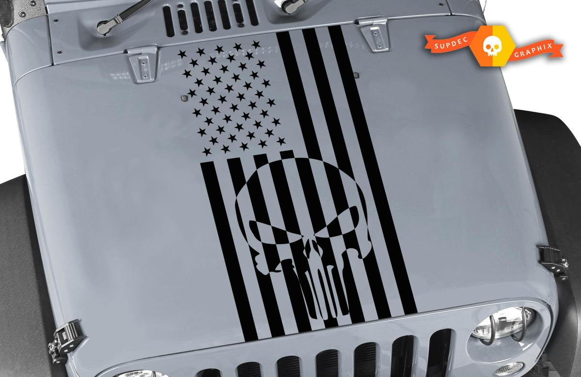Jeep Wrangler Punisher USA flag Decal Blackout Hood Vinyl Matte Black Colors Sticker JK LJ TJ