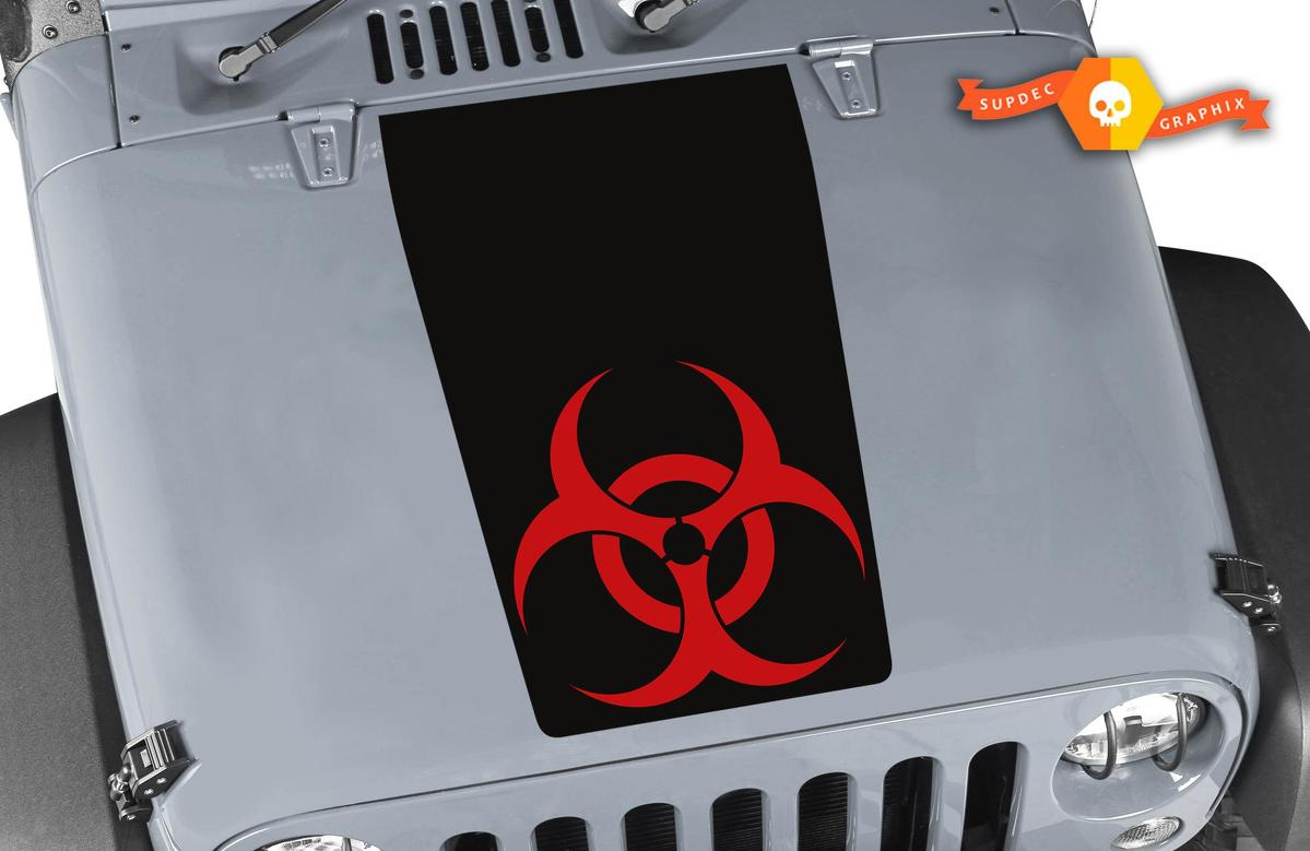 Jeep Wrangler Blackouot Biohazard Vinyl Hood TWO COLORS Decal TJ LJ JK Unlimited
